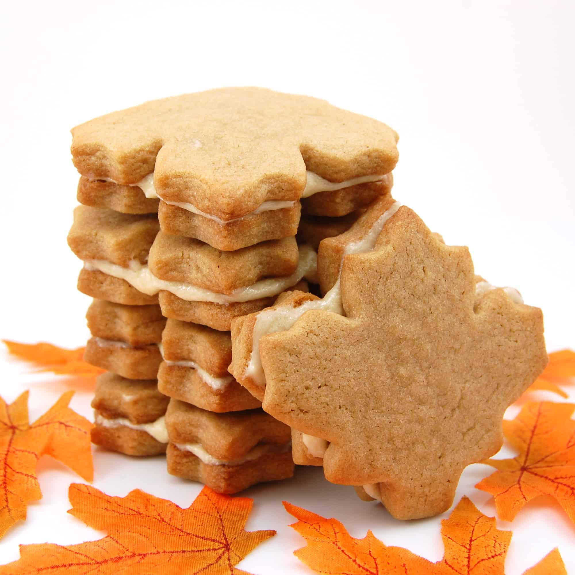 stack of maple cream cookies