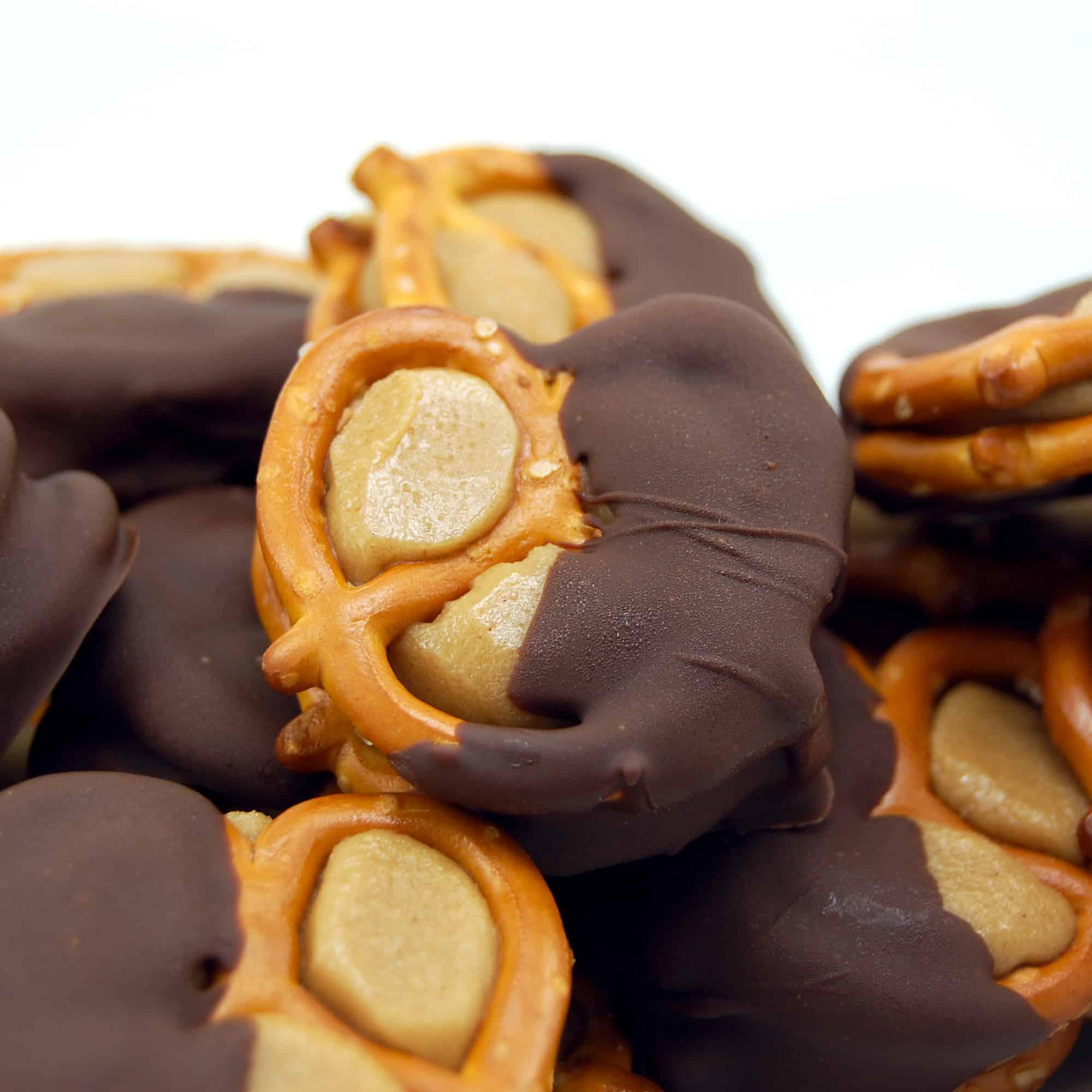 buckeye peanut butter pretzels in a stack