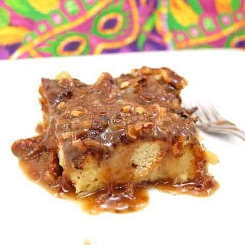 Piece of new orleans bread pudding on plate