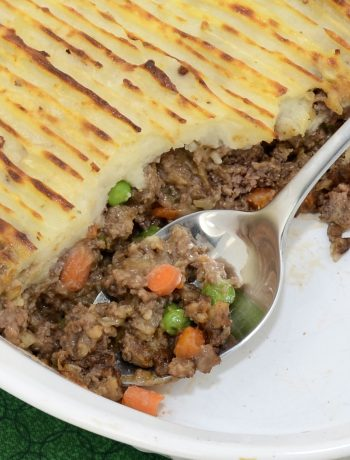 Guinness Shepherd's Pie with Beef in a white casserole dish