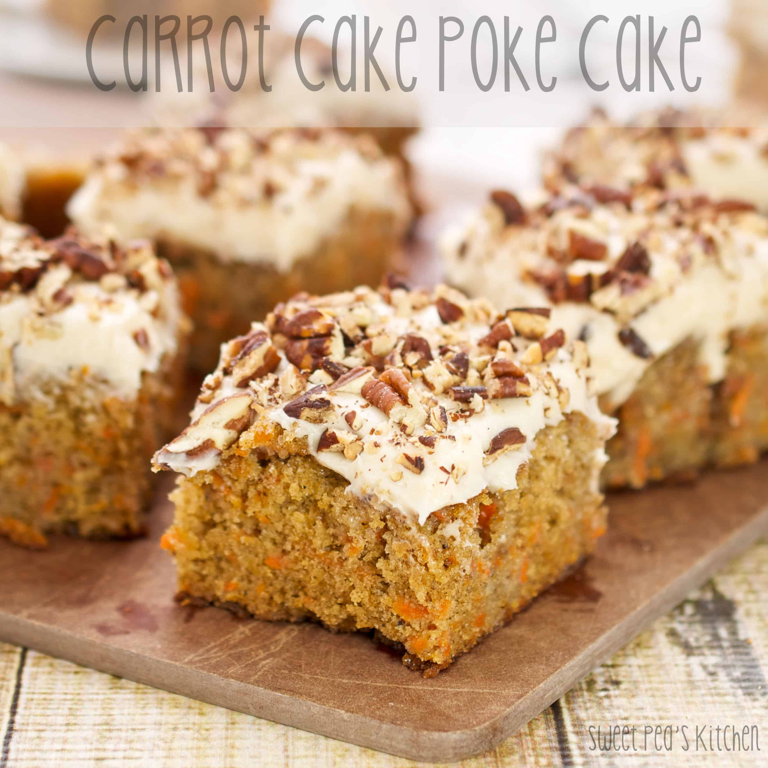 carrot cake on a brown board