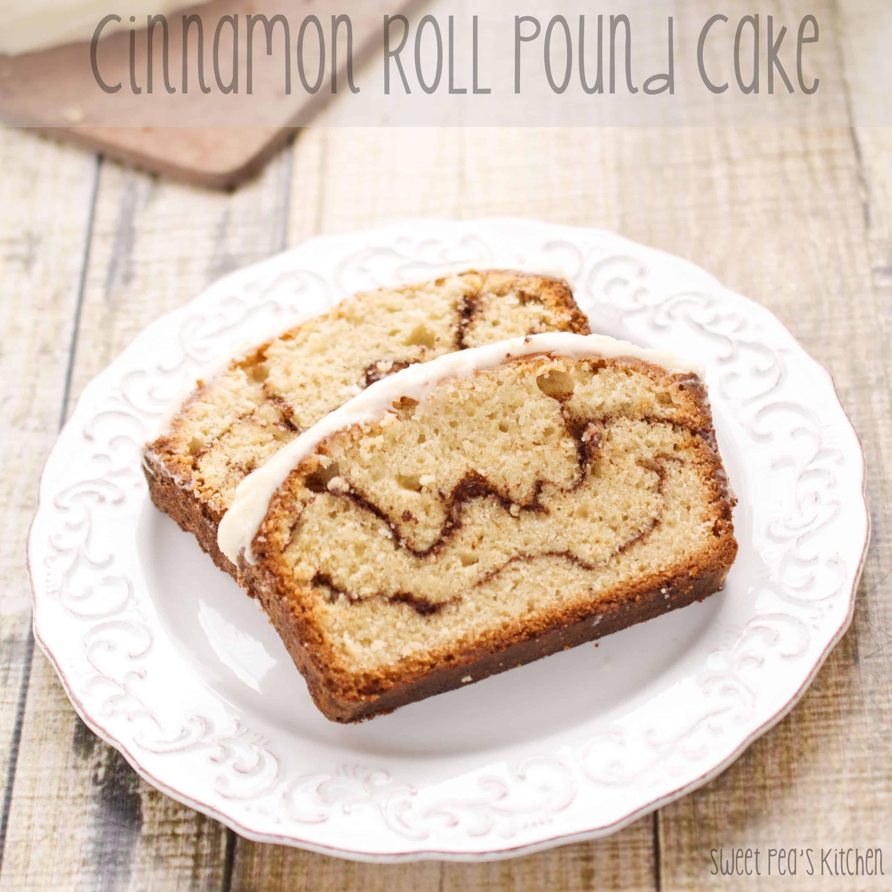 cinnamon roll pound cake on plate