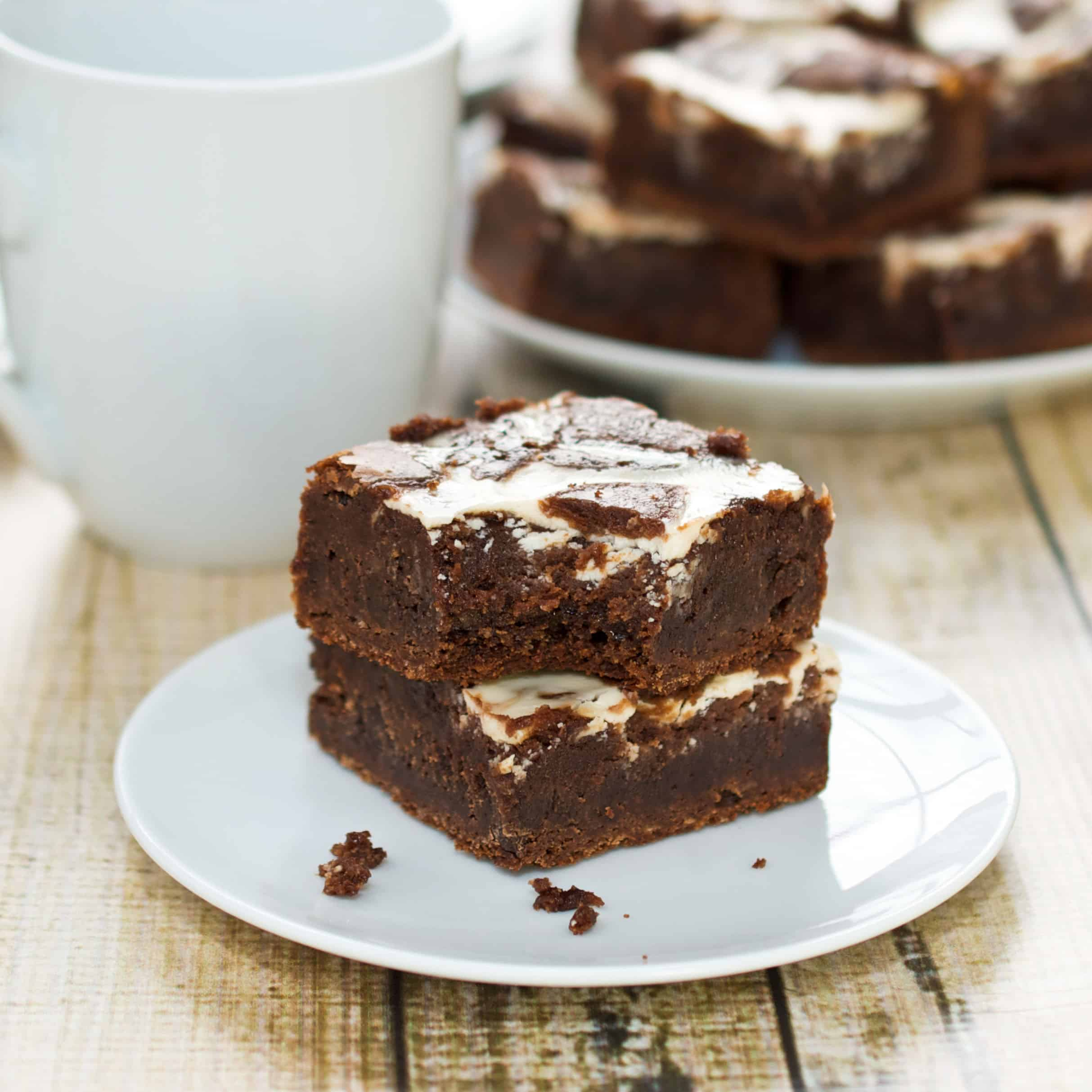 plate with homemade brownies