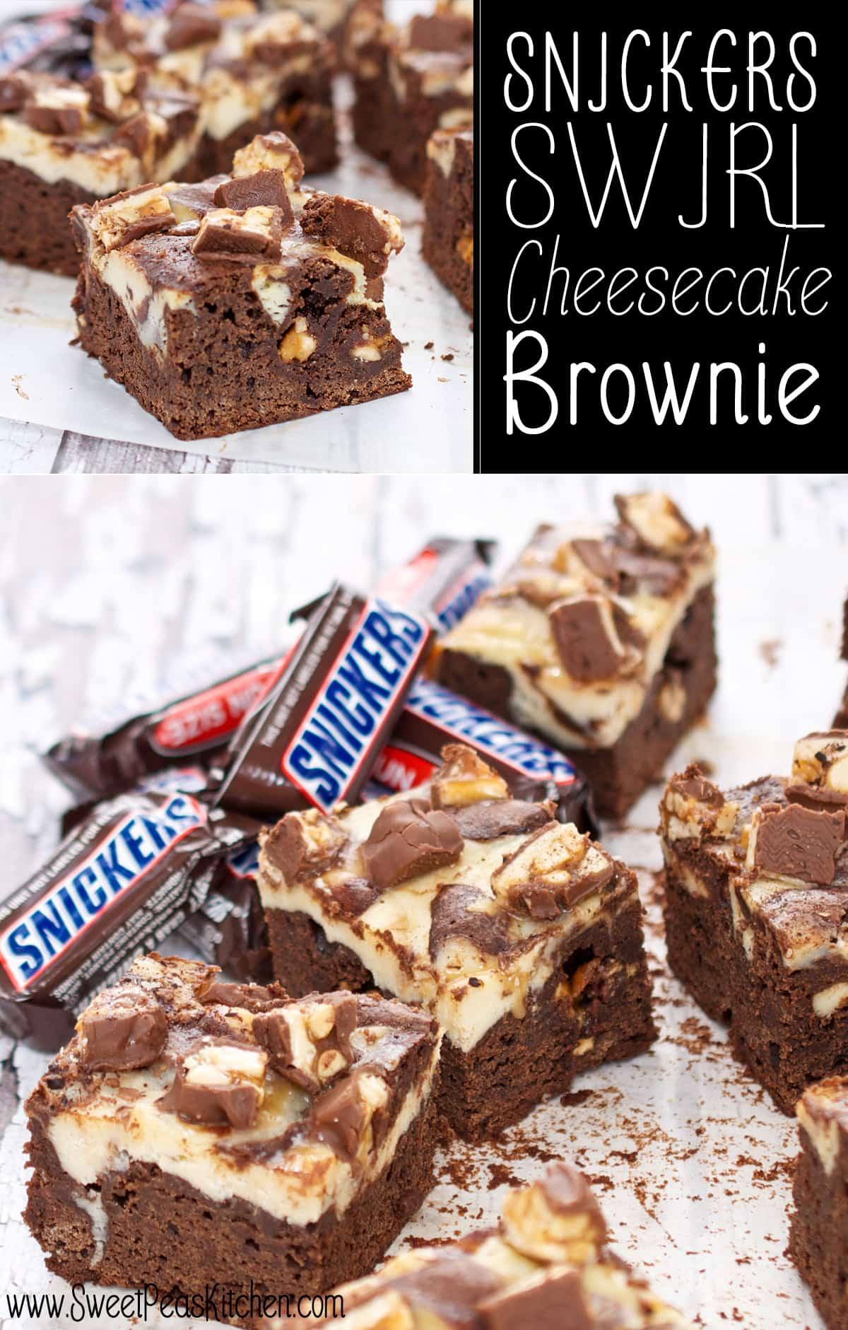 Snickers Swirl Cheesecake Brownie Recipe