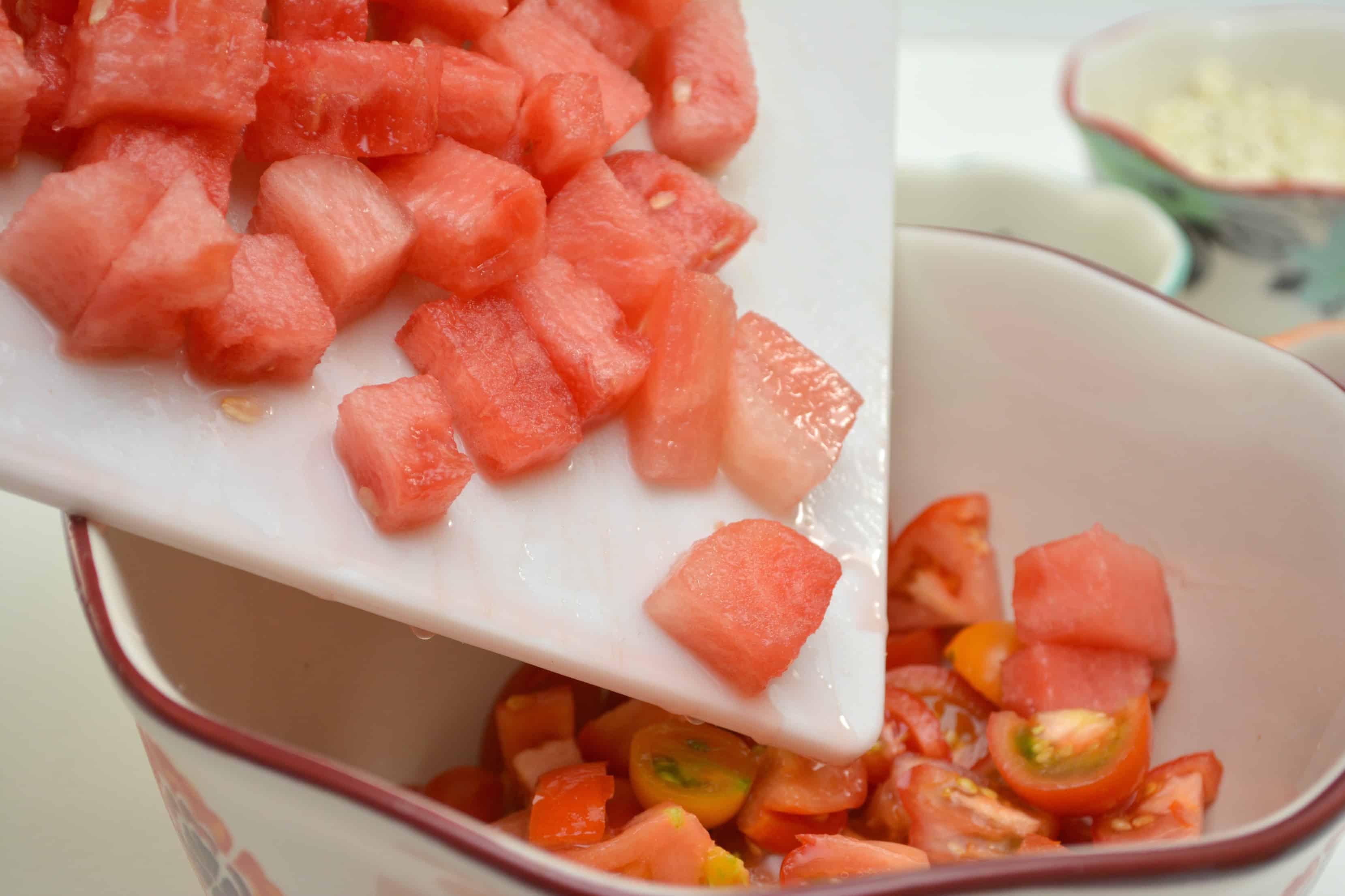 diced watermelon on cutting board
