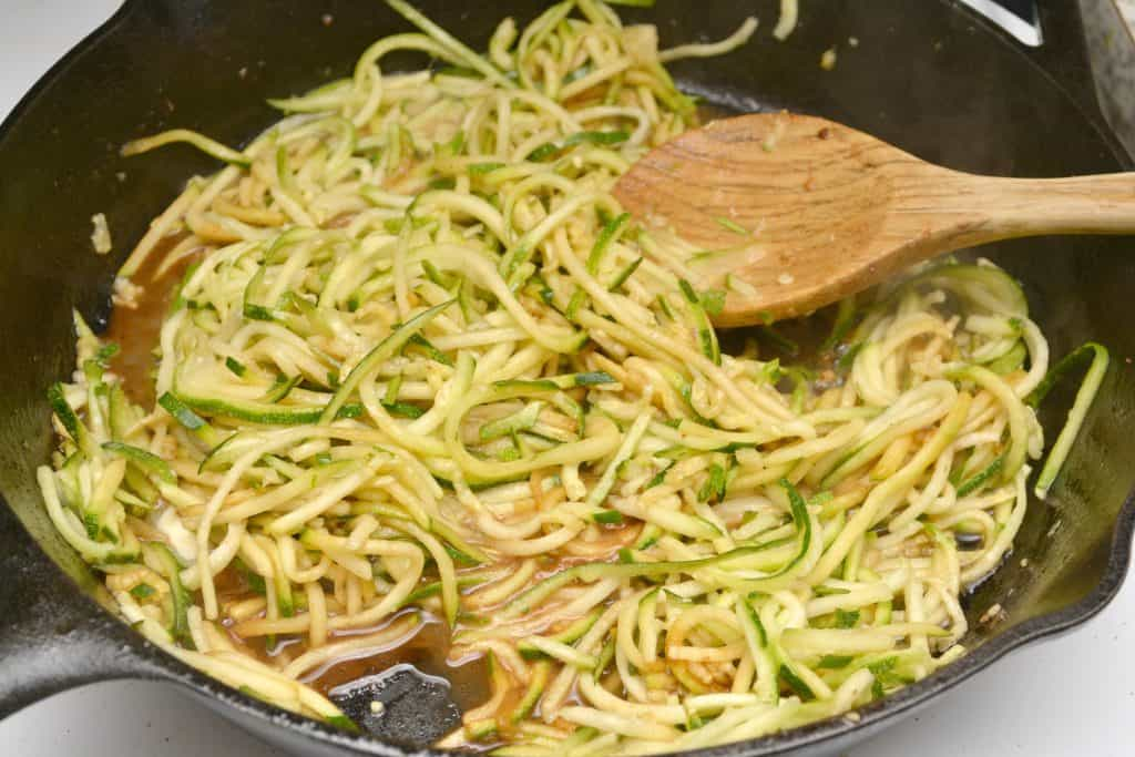 zoodles on stovetop