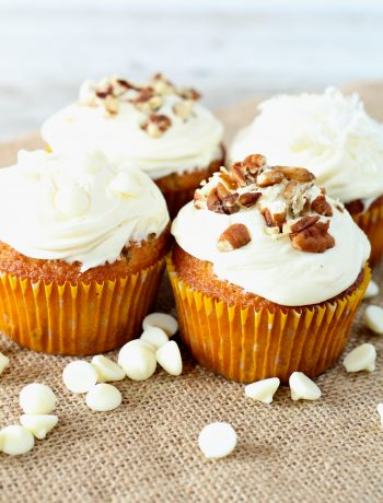 White Chocolate Coconut Pecan Cupcakes