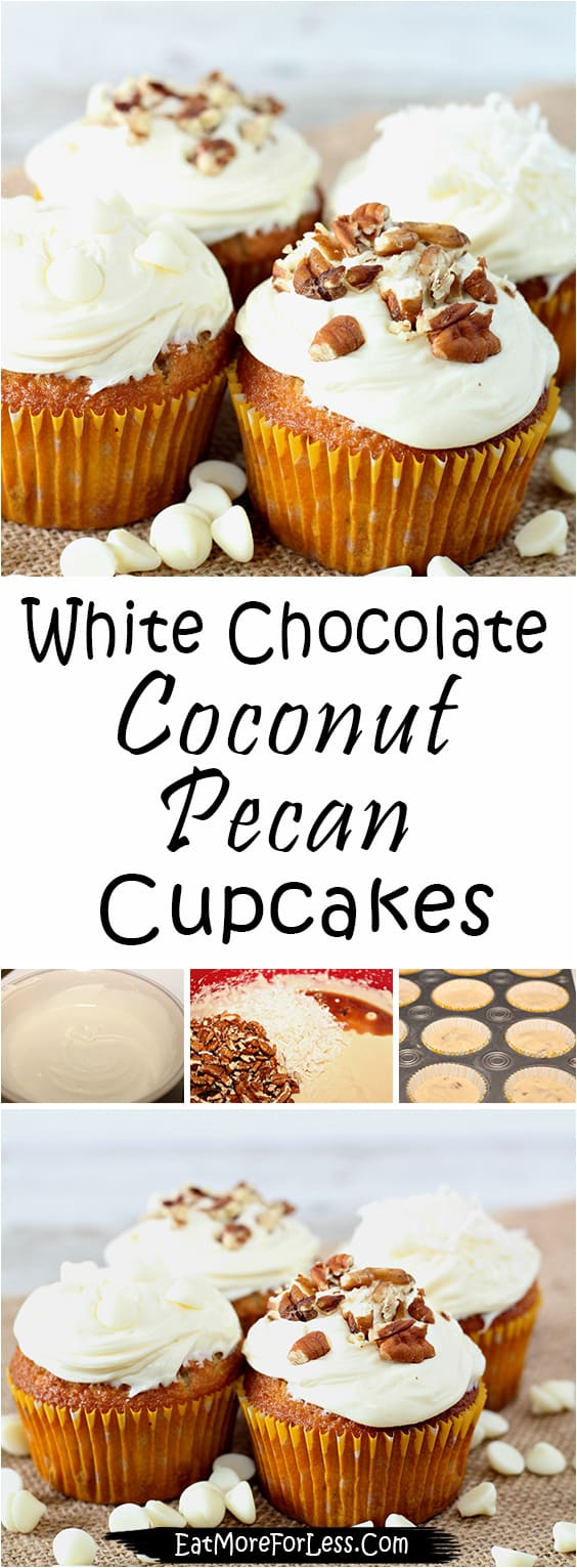 White Chocolate Coconut Pecan Cupcakes