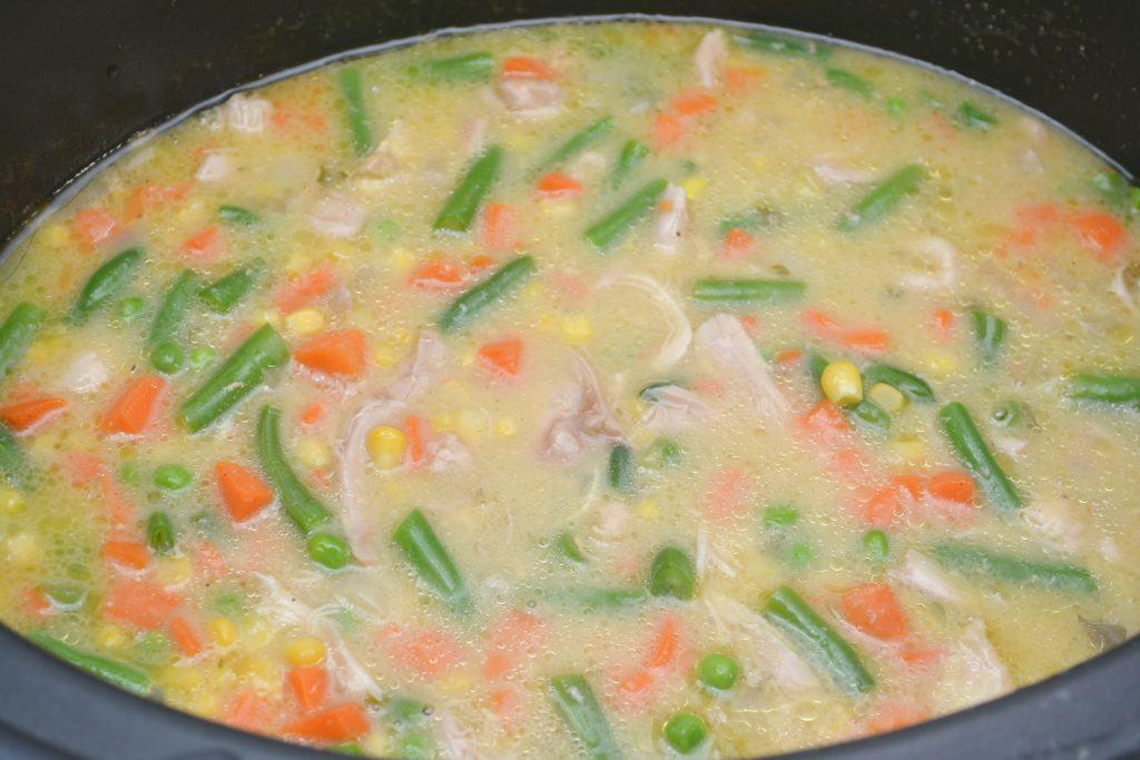 chicken and dumplings mixture in crockpot
