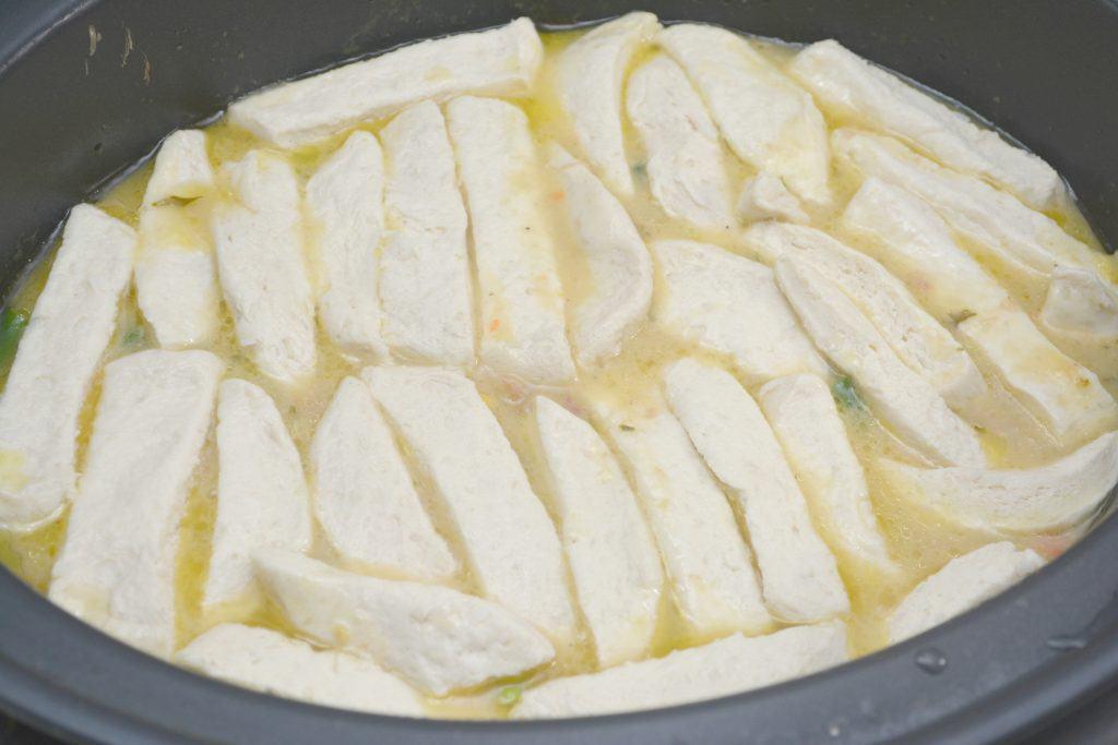 cut up biscuits on chicken pot pie recipe