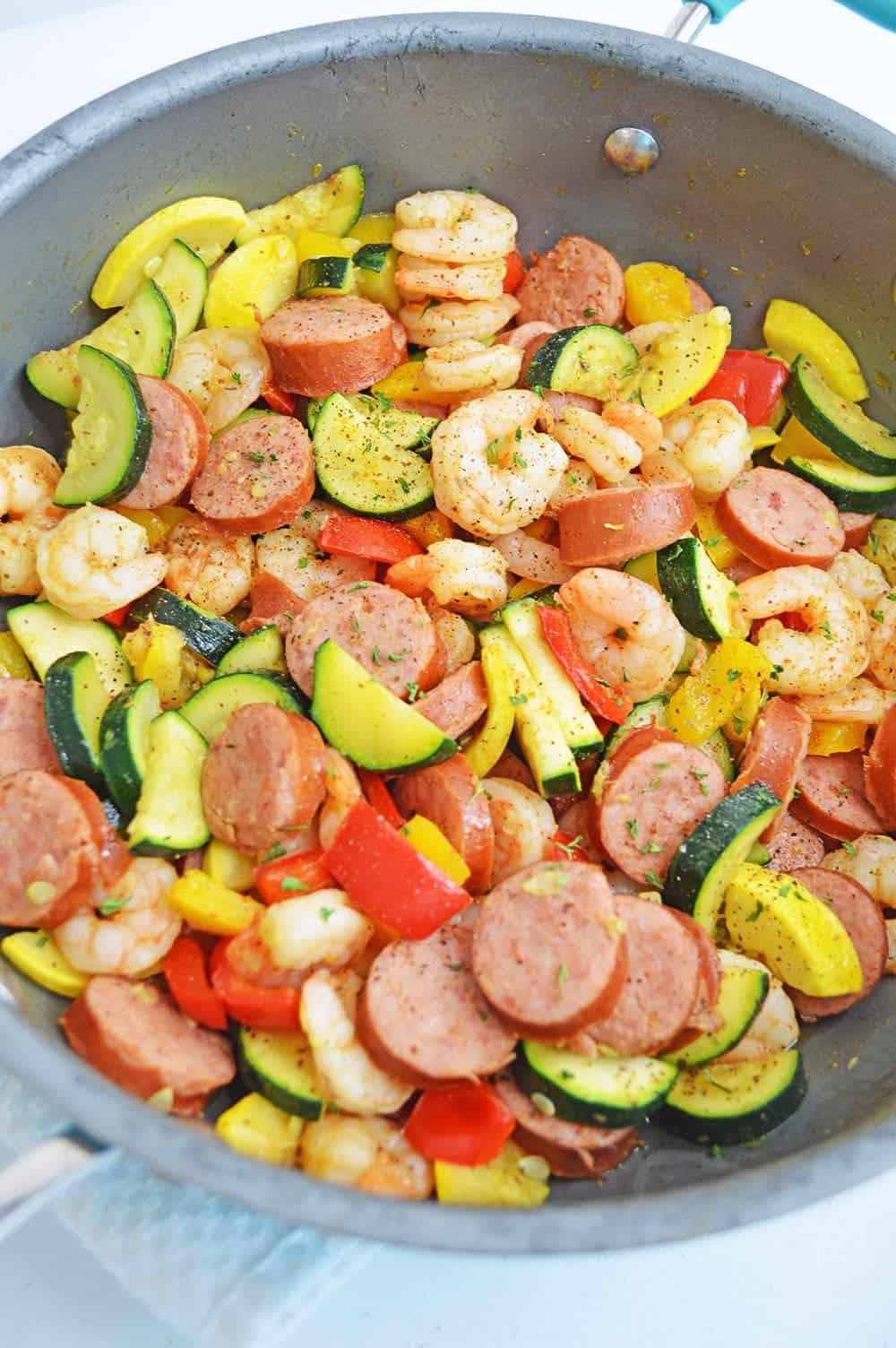 Cajun Shrimp Sausage Skillet Easy One Skillet Meals