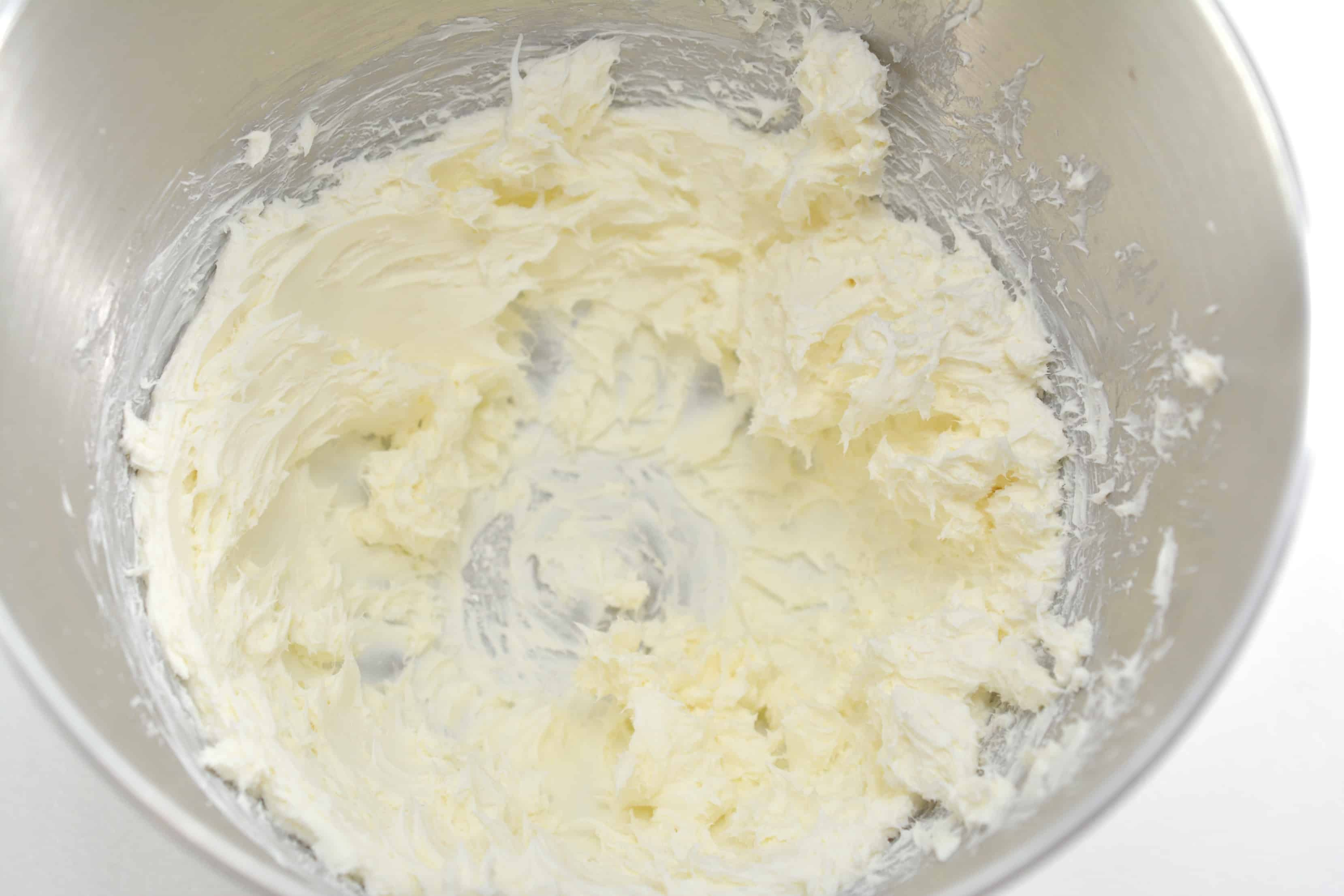 beaten cream cheese in a mixing bowl