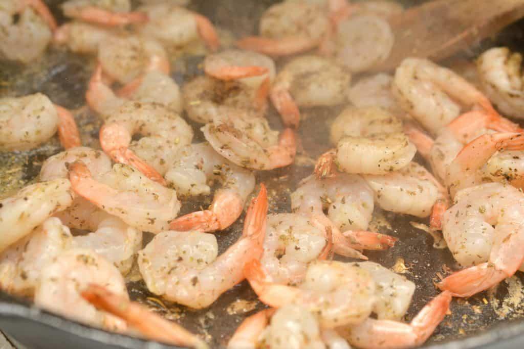 close up of shrimp in skillet