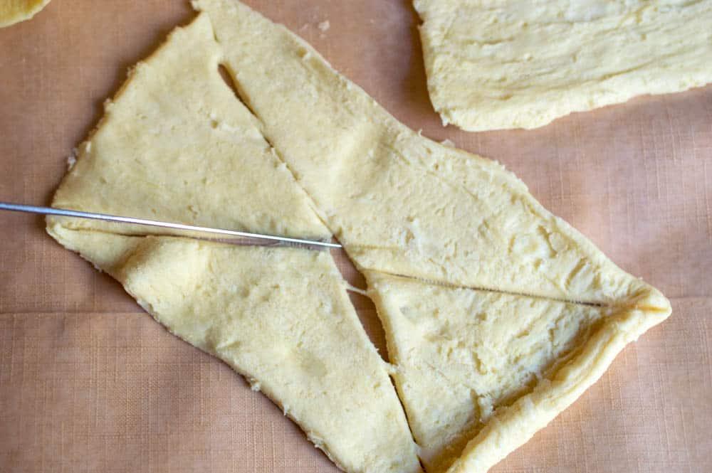 cutting up crescent rolls