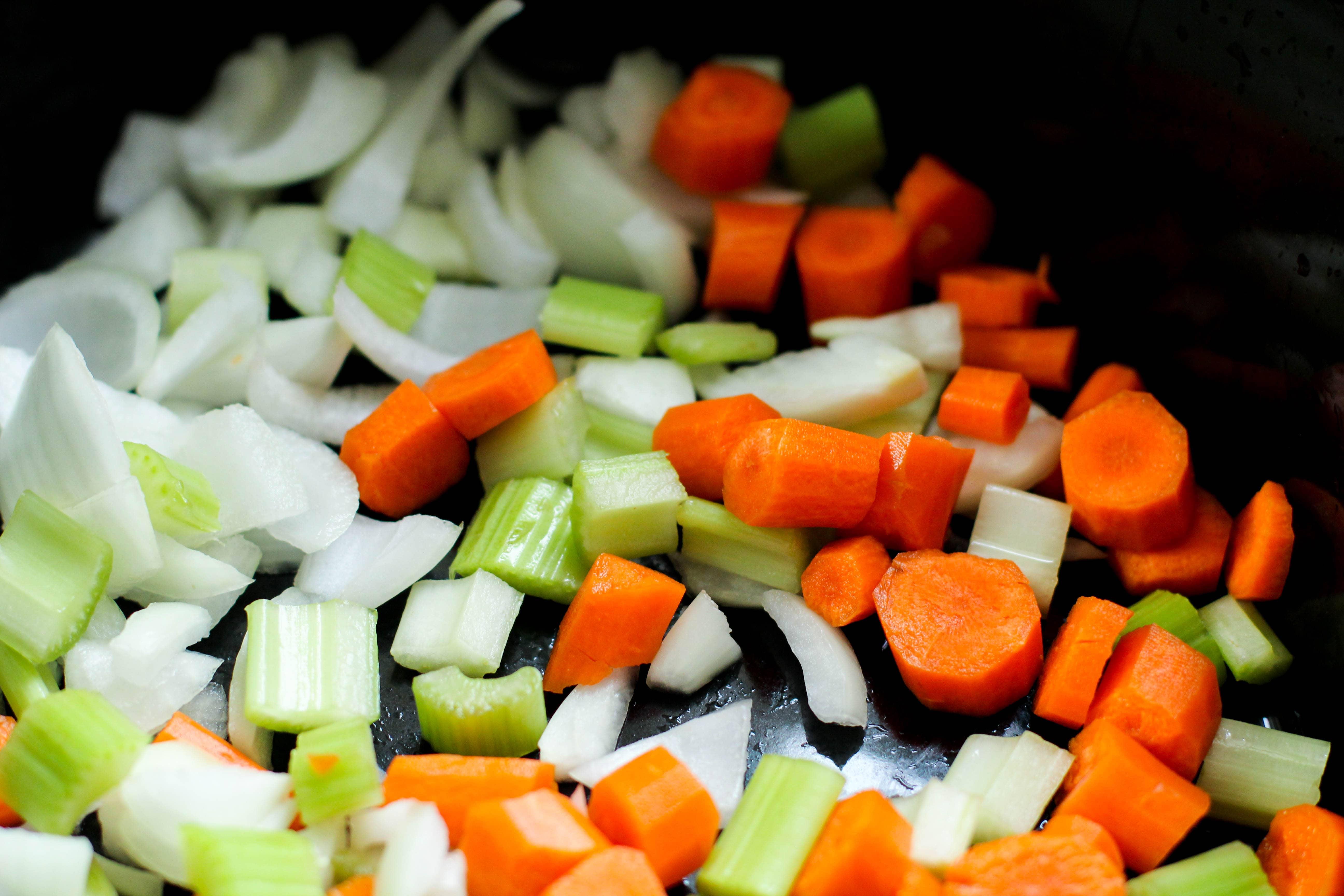 chopped veggies in a pan
