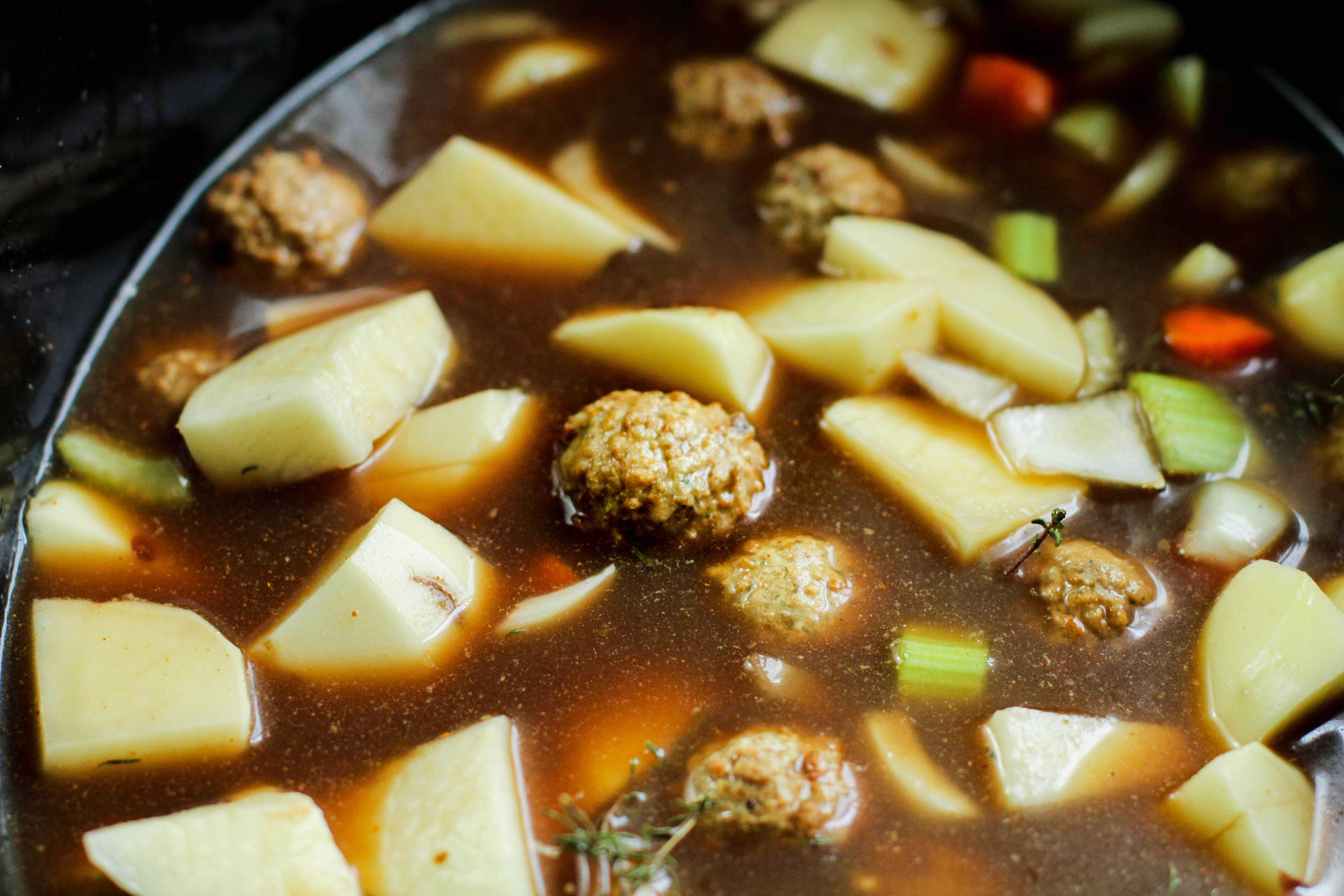 easy meatball soup in a pot