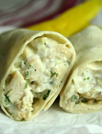 This Chicken Ranch Wrap is one of the easiest grilled chicken wrap recipes for a delicious and simple lunch any day of the week. It shows how to make chicken wraps with tortillas in a very simple, 4 ingredient way. #chicken #ranch #wrap #lunch #easy #dinner #chickenwrap #howtouseleftoverchicken