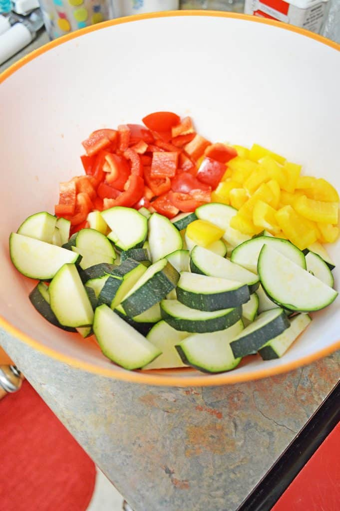 cut up vegetables in a bowl