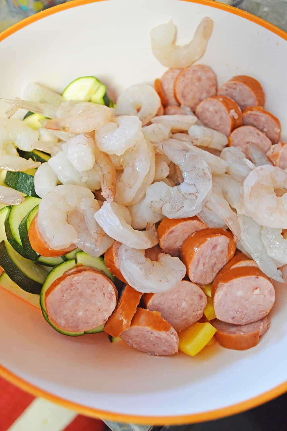 prep of sausage and shrimp skillet dish