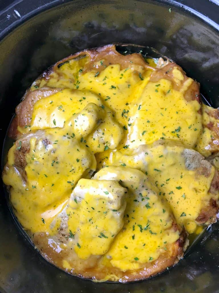 smothered pork chops in a crockpot
