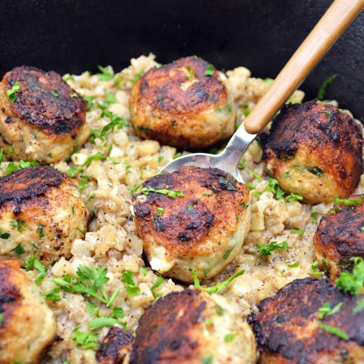 Cheesy Stuffed Turkey Meatballs with Cauliflower Rice