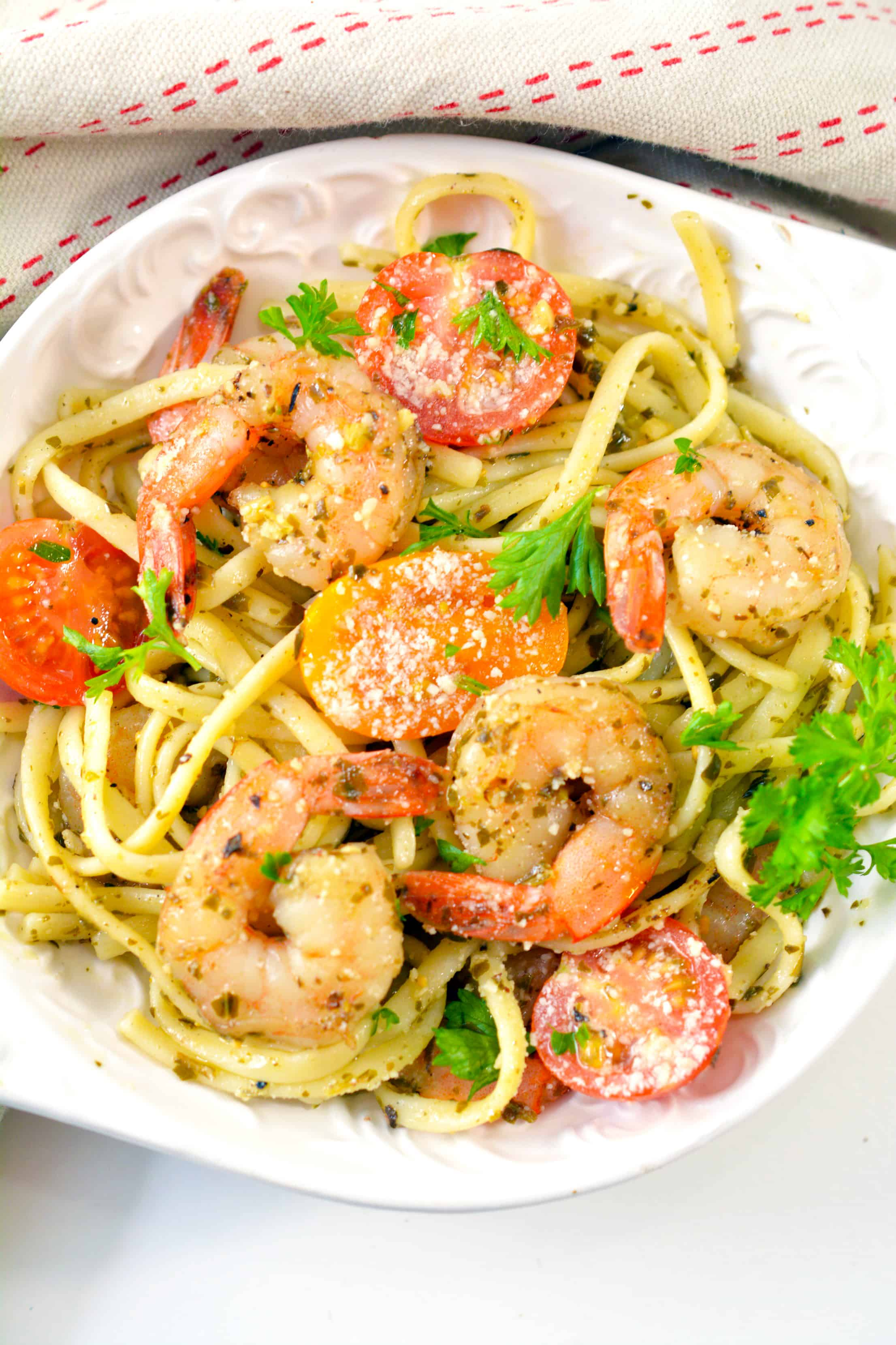 Shrimp Pesto Pasta on a plate