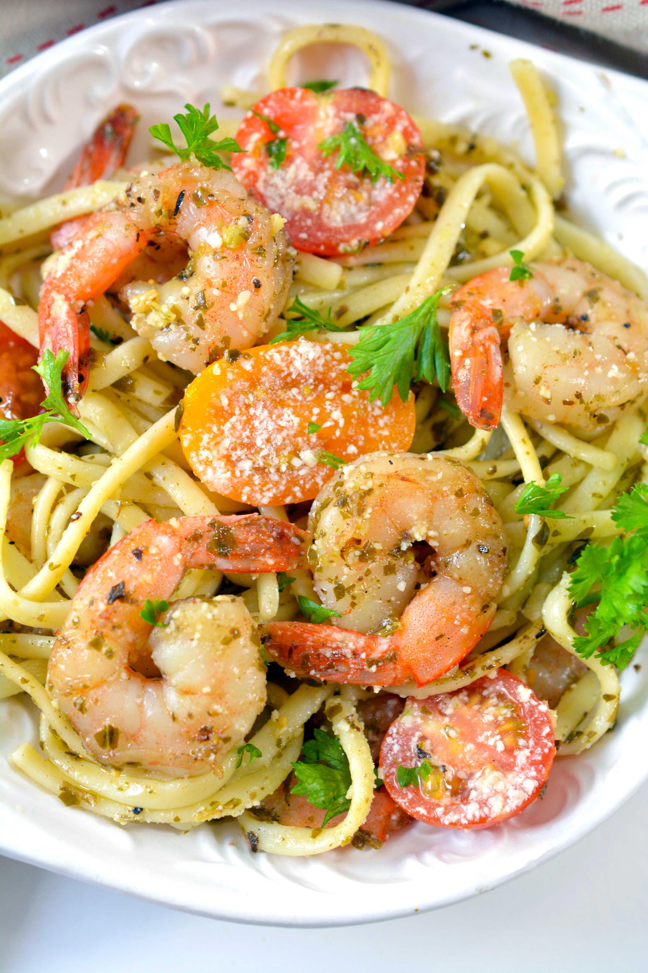 Shrimp Pesto Pasta on a plate