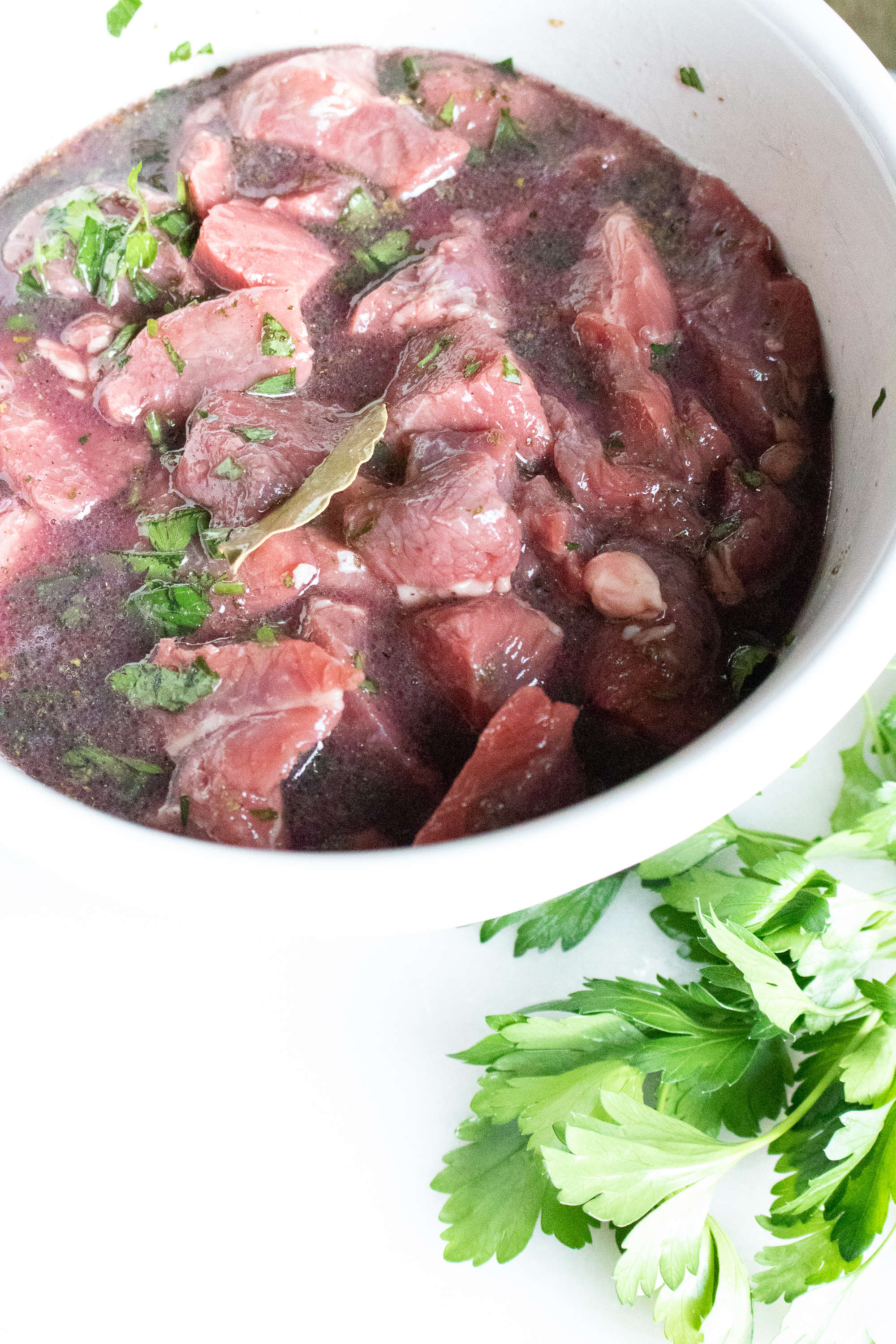 beef stew meat in marinade for Beef Bourguignon Recipe