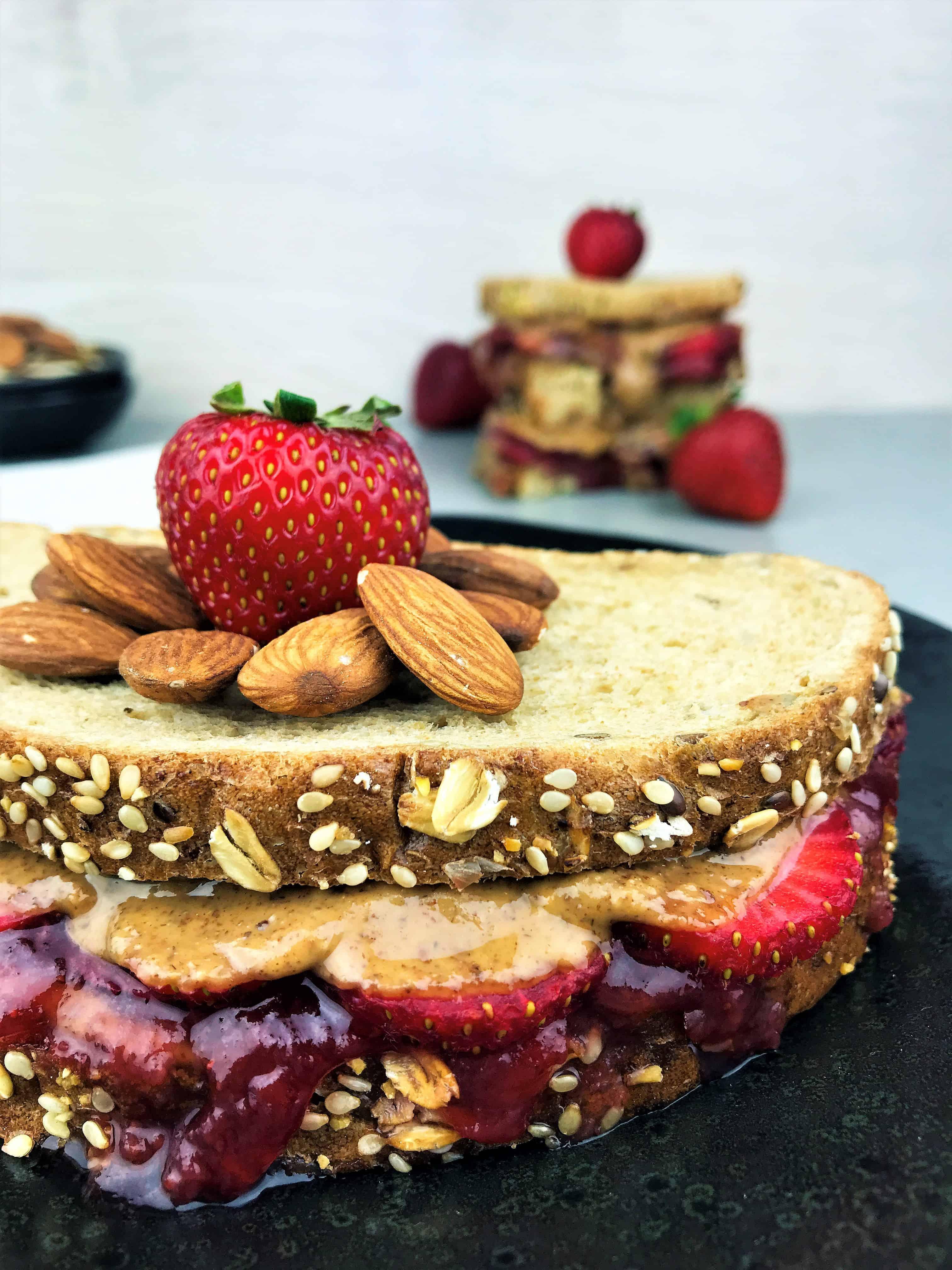 Copycat Starbucks almond butter sandwich on a plate