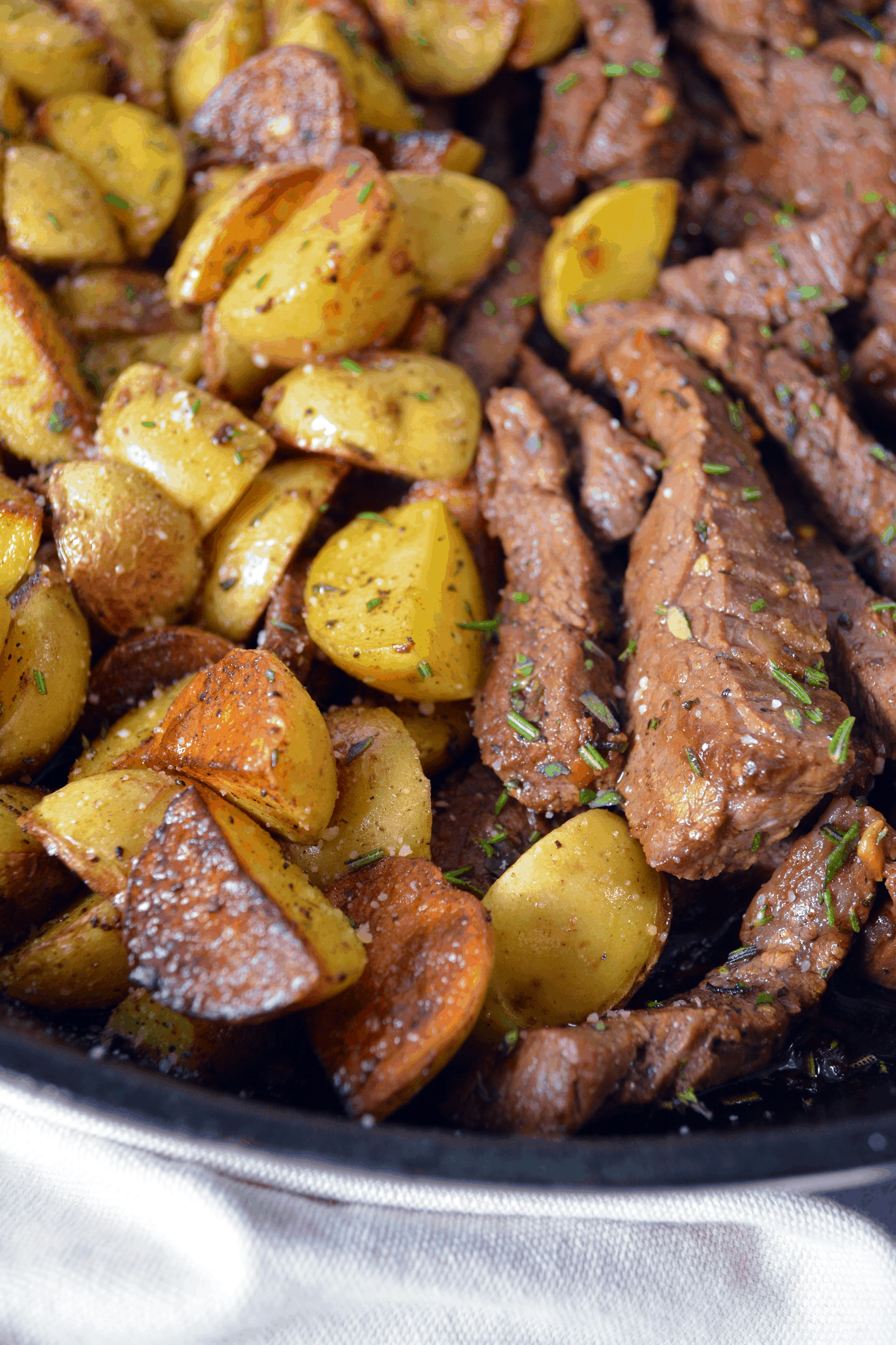 seared potatoes and steak