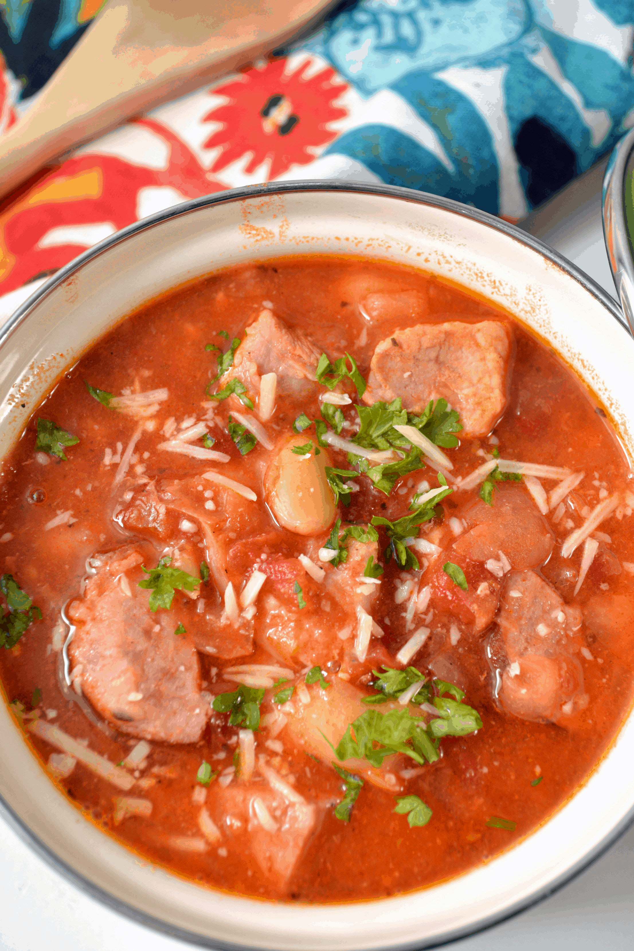 An overhead picture of a bowl of instant pot sausage and bean soup