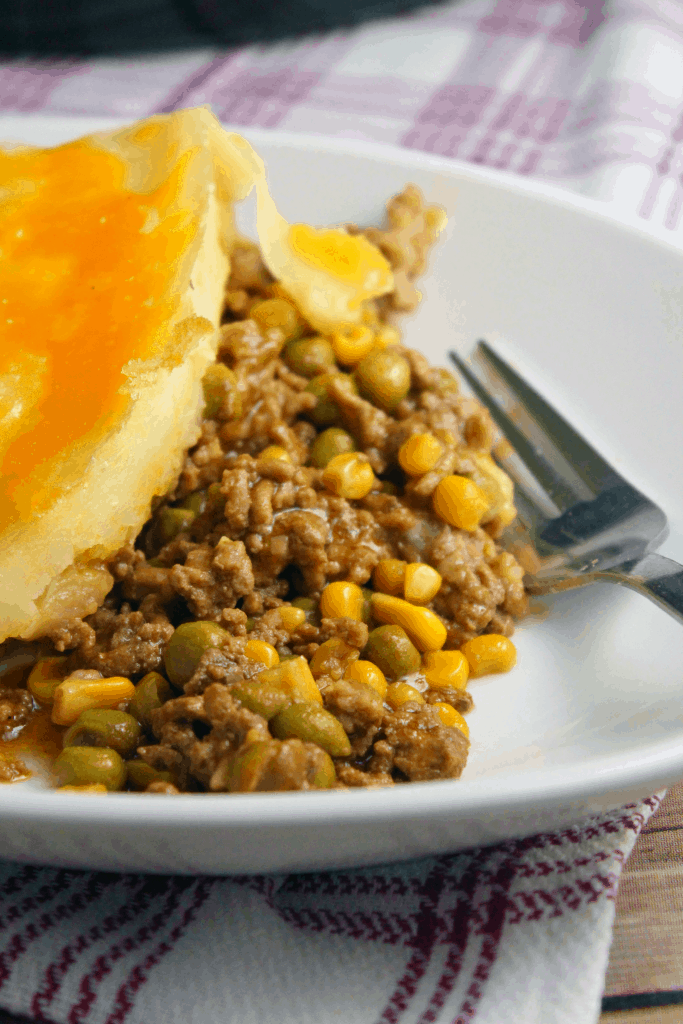 spooned up sheperd's pie on a plate