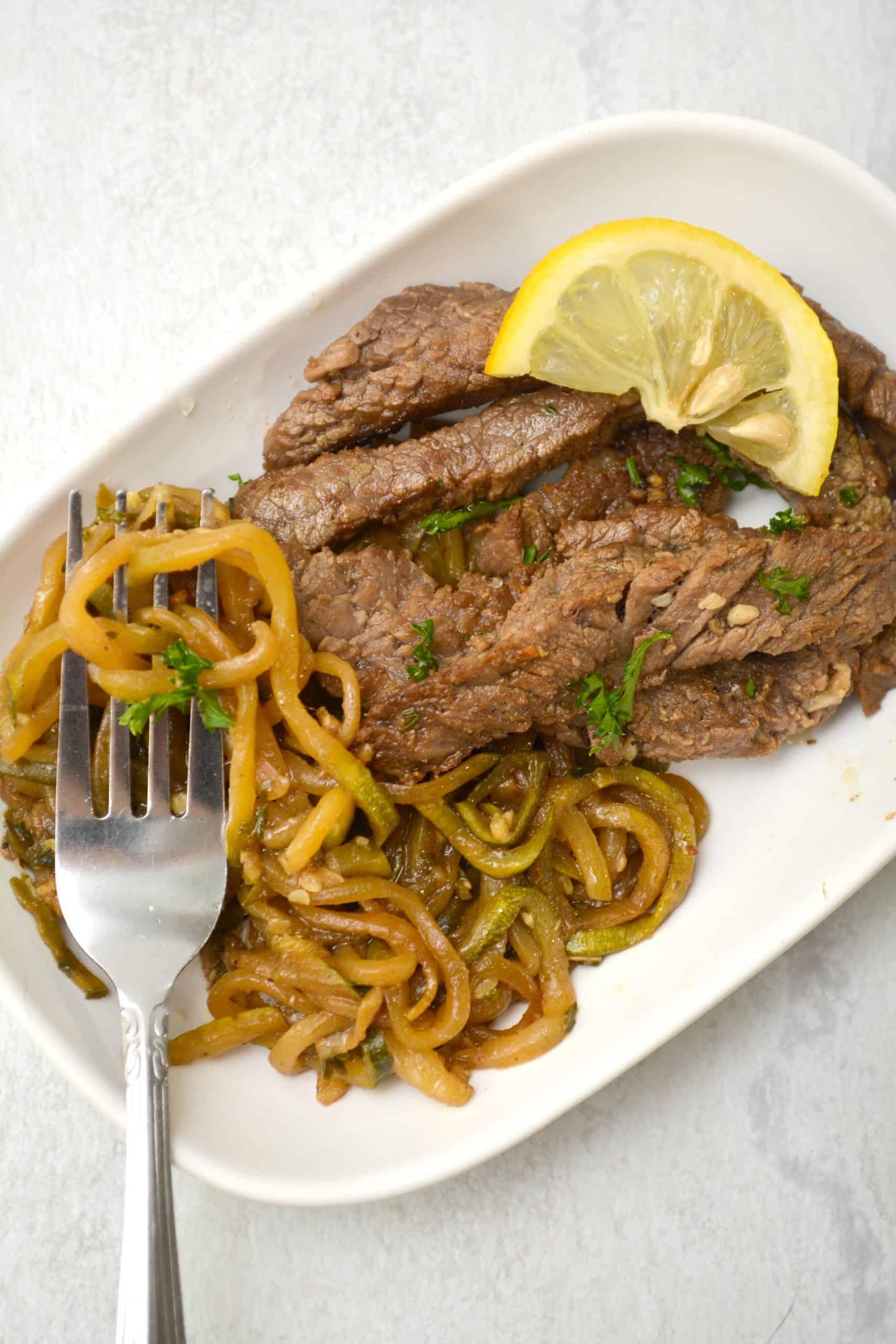 Garlic Butter Steak with Zucchini Noodles