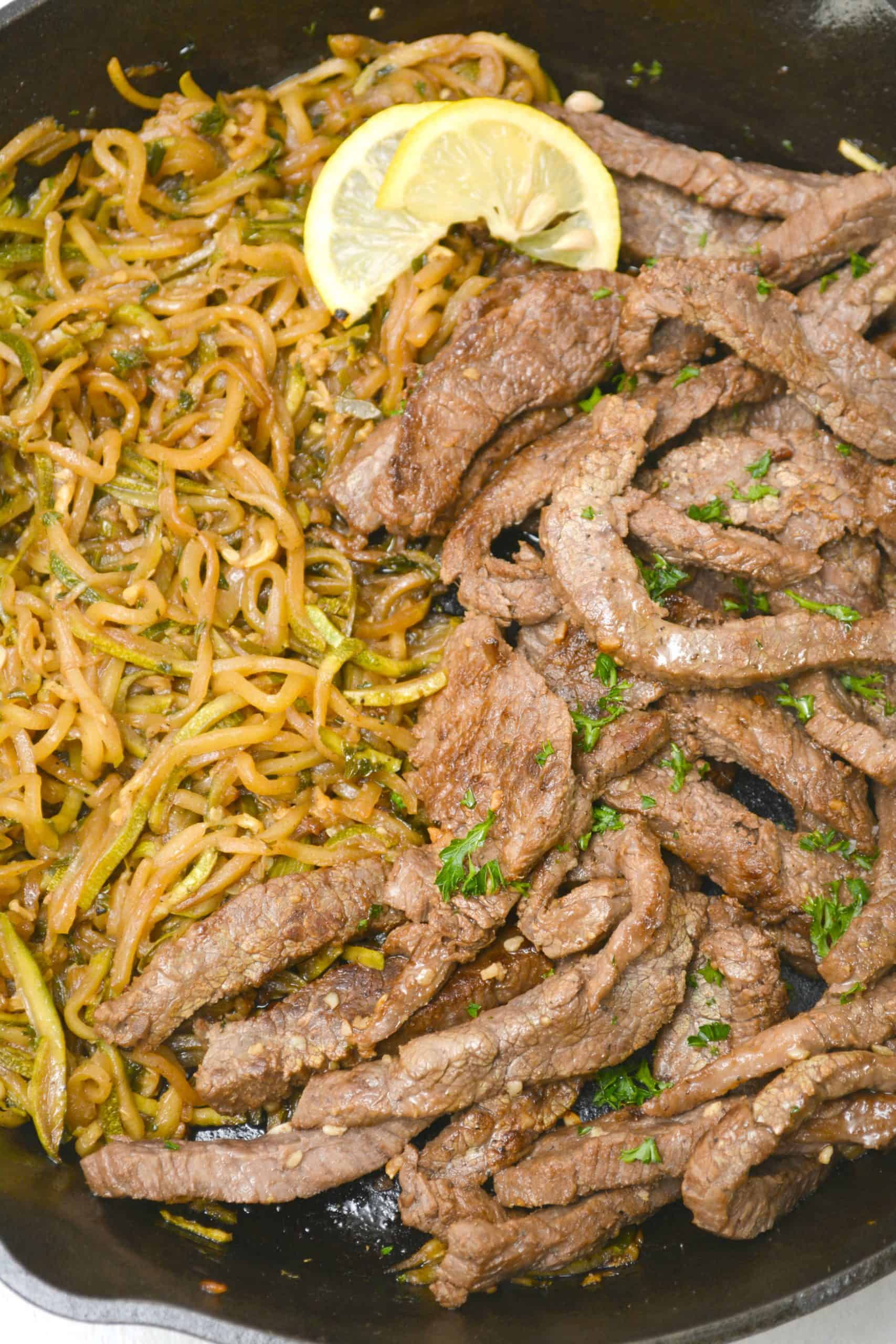 Garlic Butter Steak with Zucchini Noodles - Sweet Pea's ...