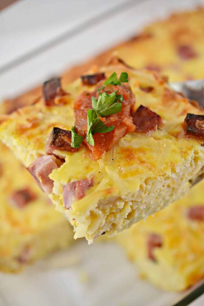 slice of breakfast casserole