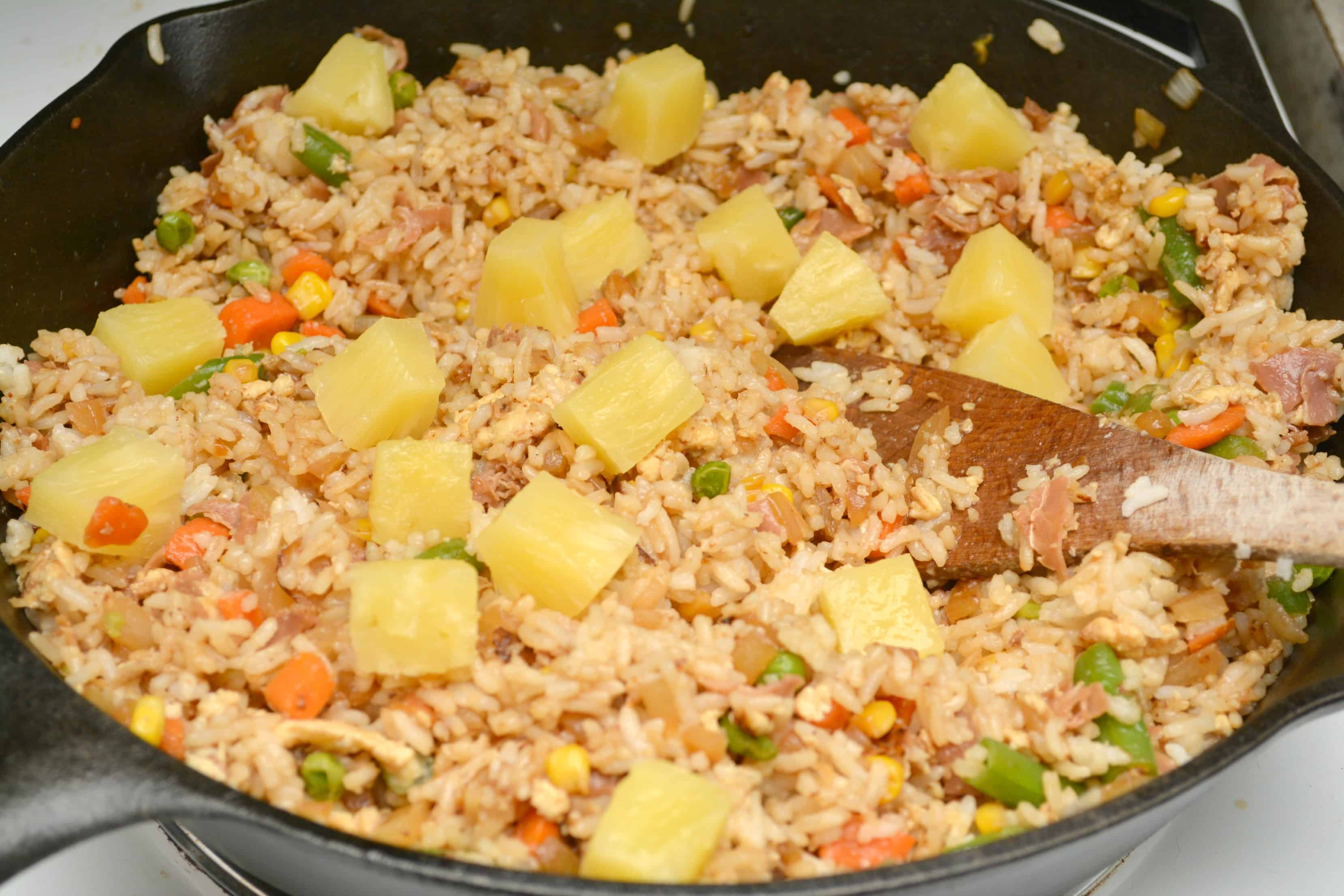 pineapple on top of fried rice