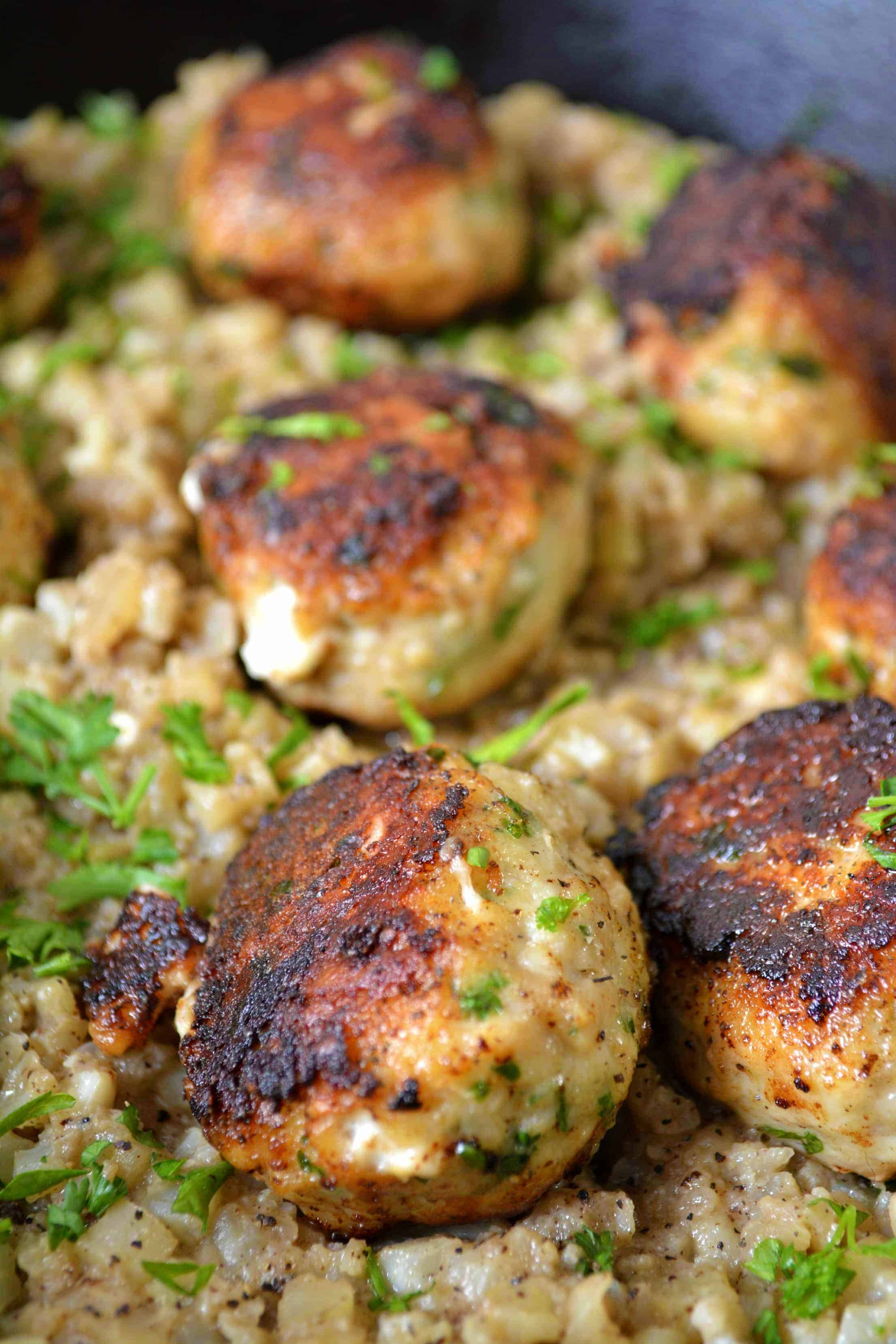 Cheesy Stuffed Turkey Meatballs with Cauliflower Rice