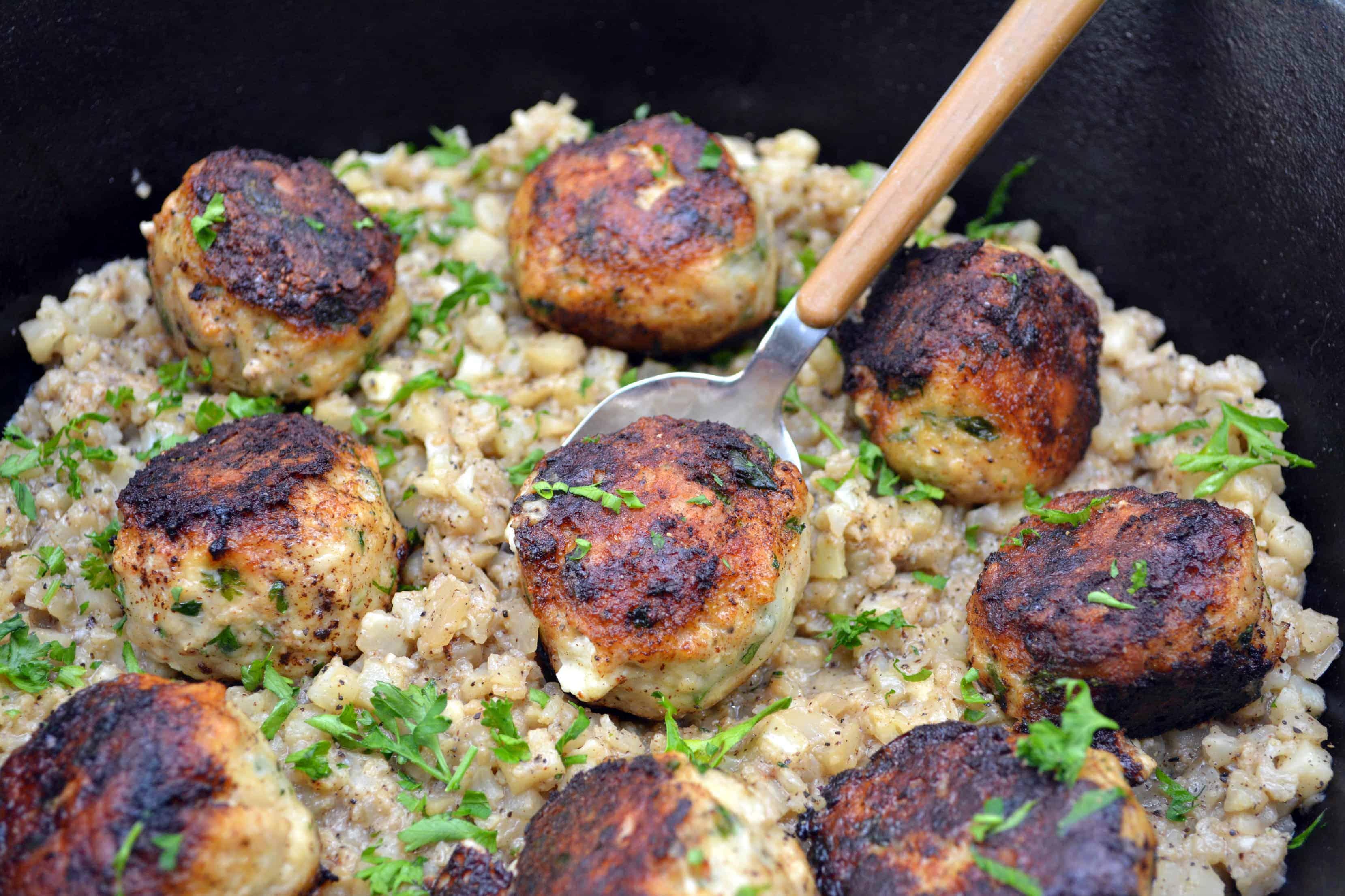 stuffed turkey meatballs in pan