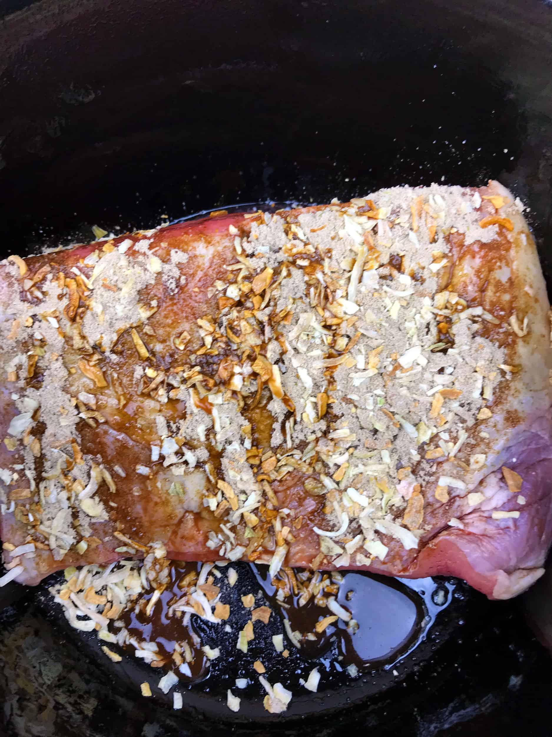 pot roast with onion soup mix on it