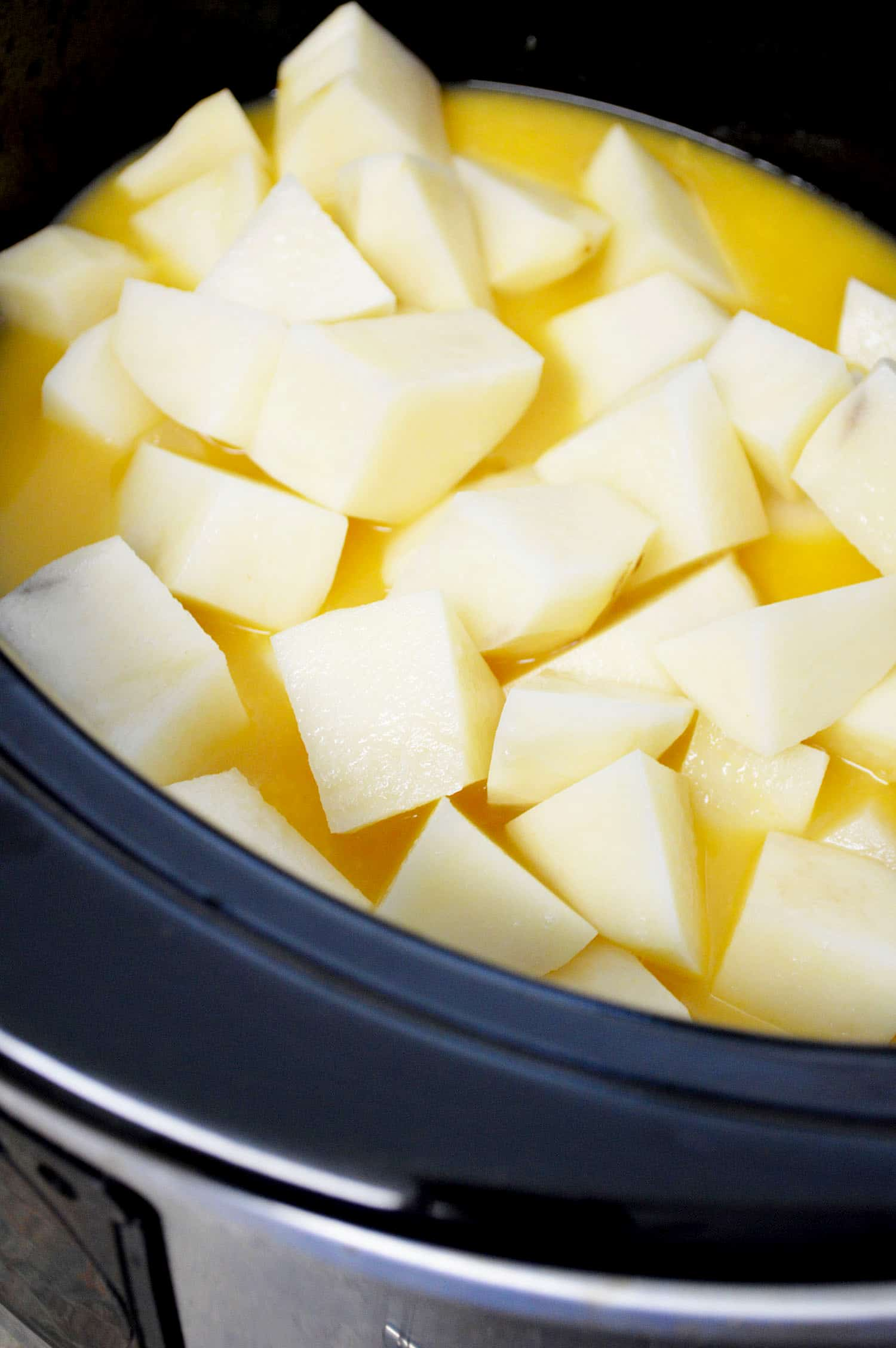 diced potatoes in slow cooker