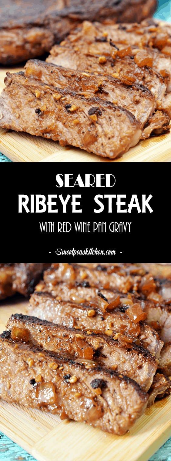 seared ribeye steak on cutting board