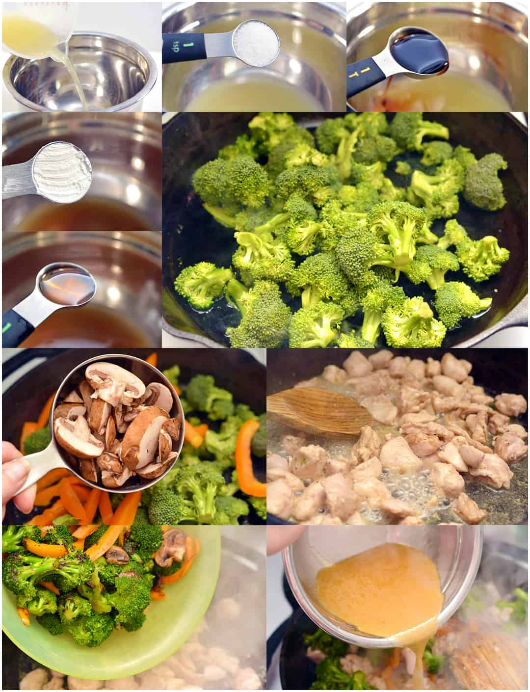 process collage of stir fry