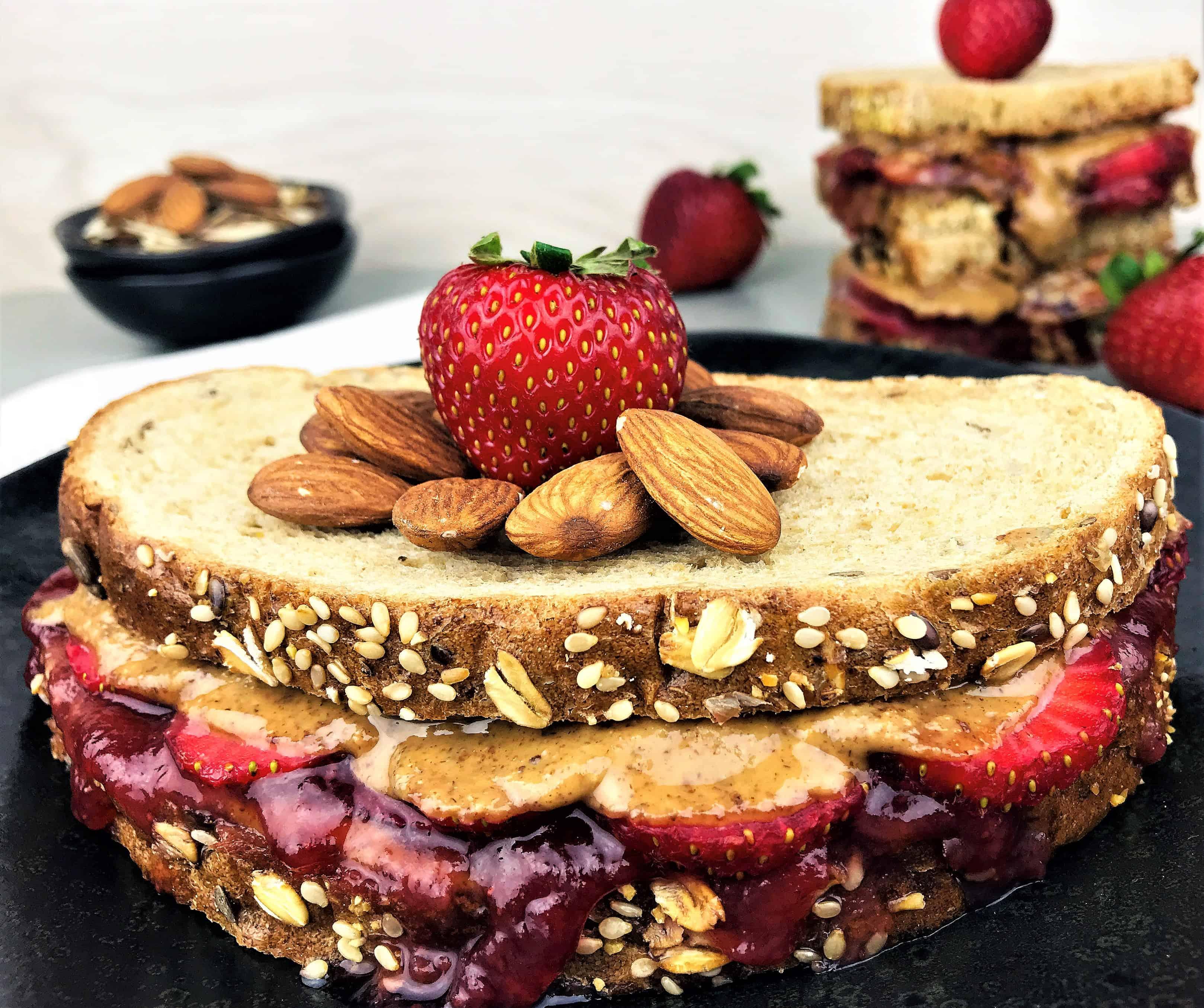 Copycat Starbucks PB&J Sandwich - Almond Butter, Strawberries and Jam