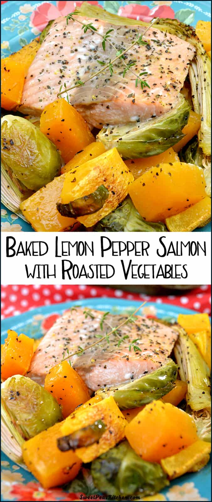 Baked Lemon Pepper Salmon with Roasted Vegetables