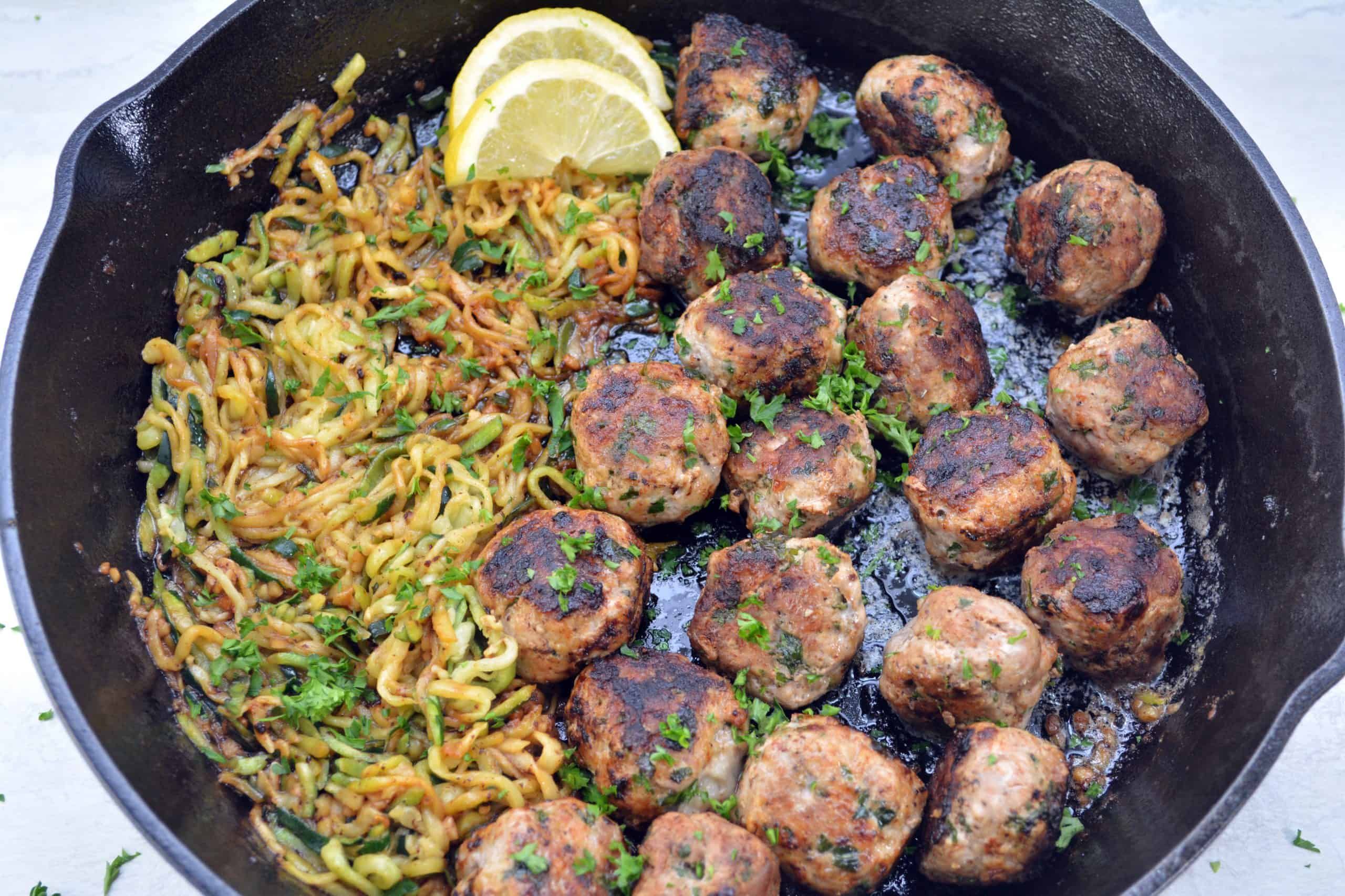 Garlic Butter Meatballs with Lemon Zucchini Noodles Recipe