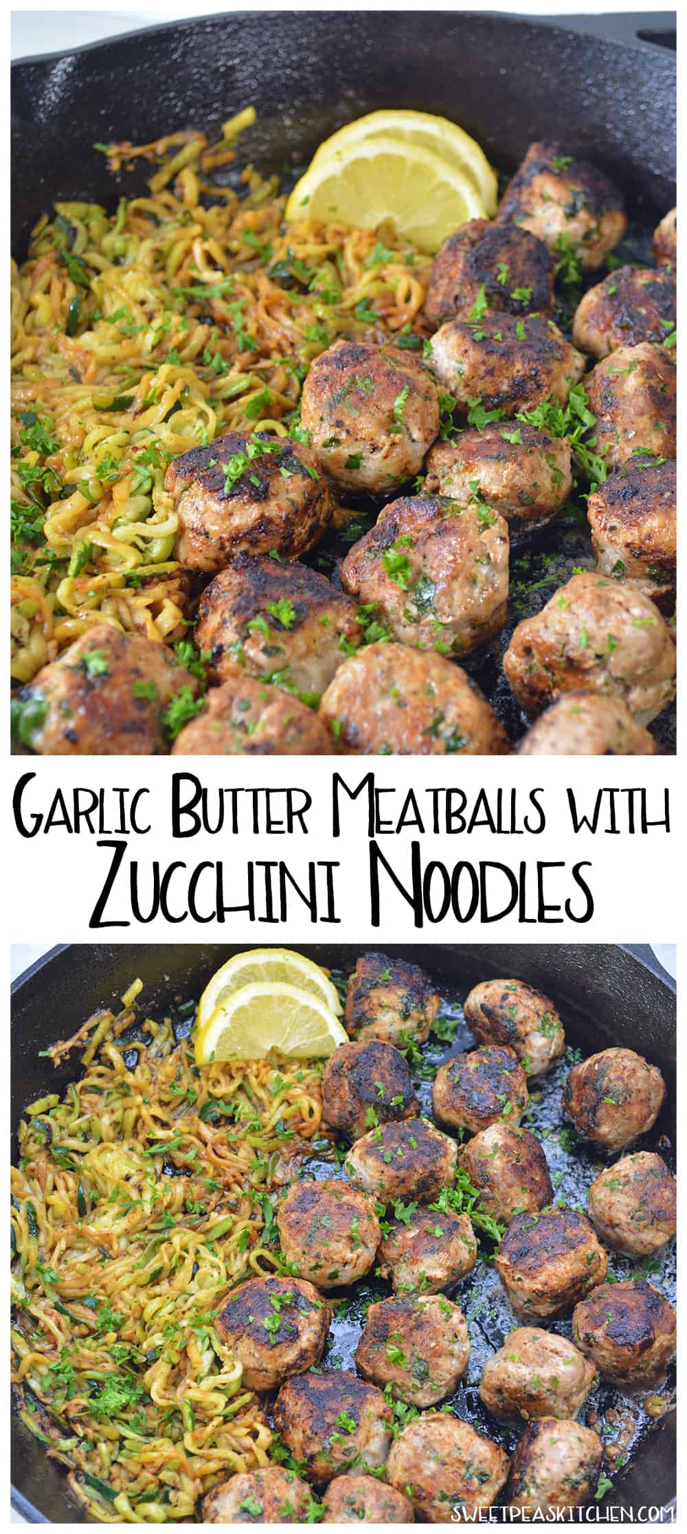 Garlic Butter Meatballs with Zucchini Noodles