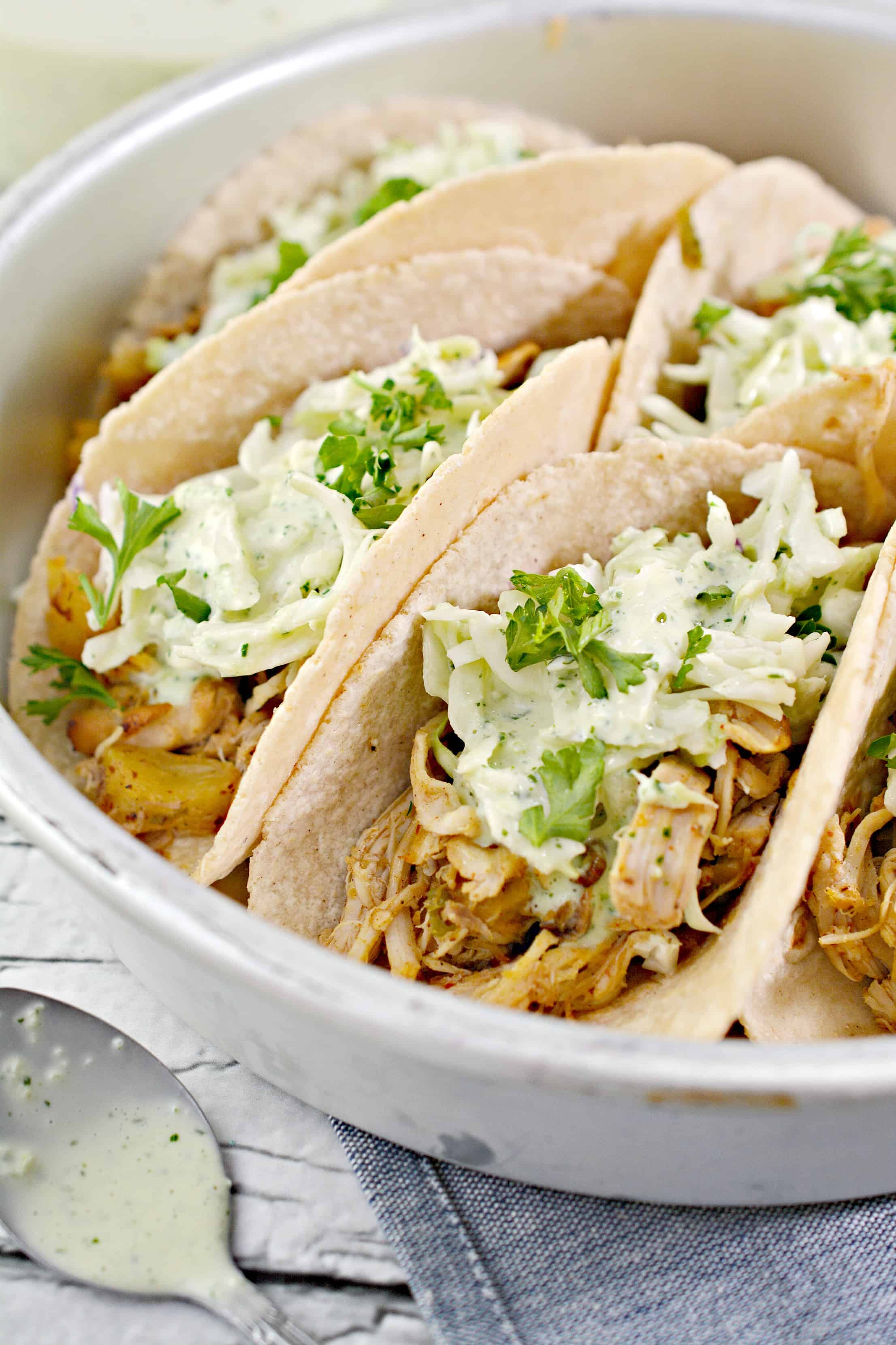 Up close side picture of Instant pot chicken tacos