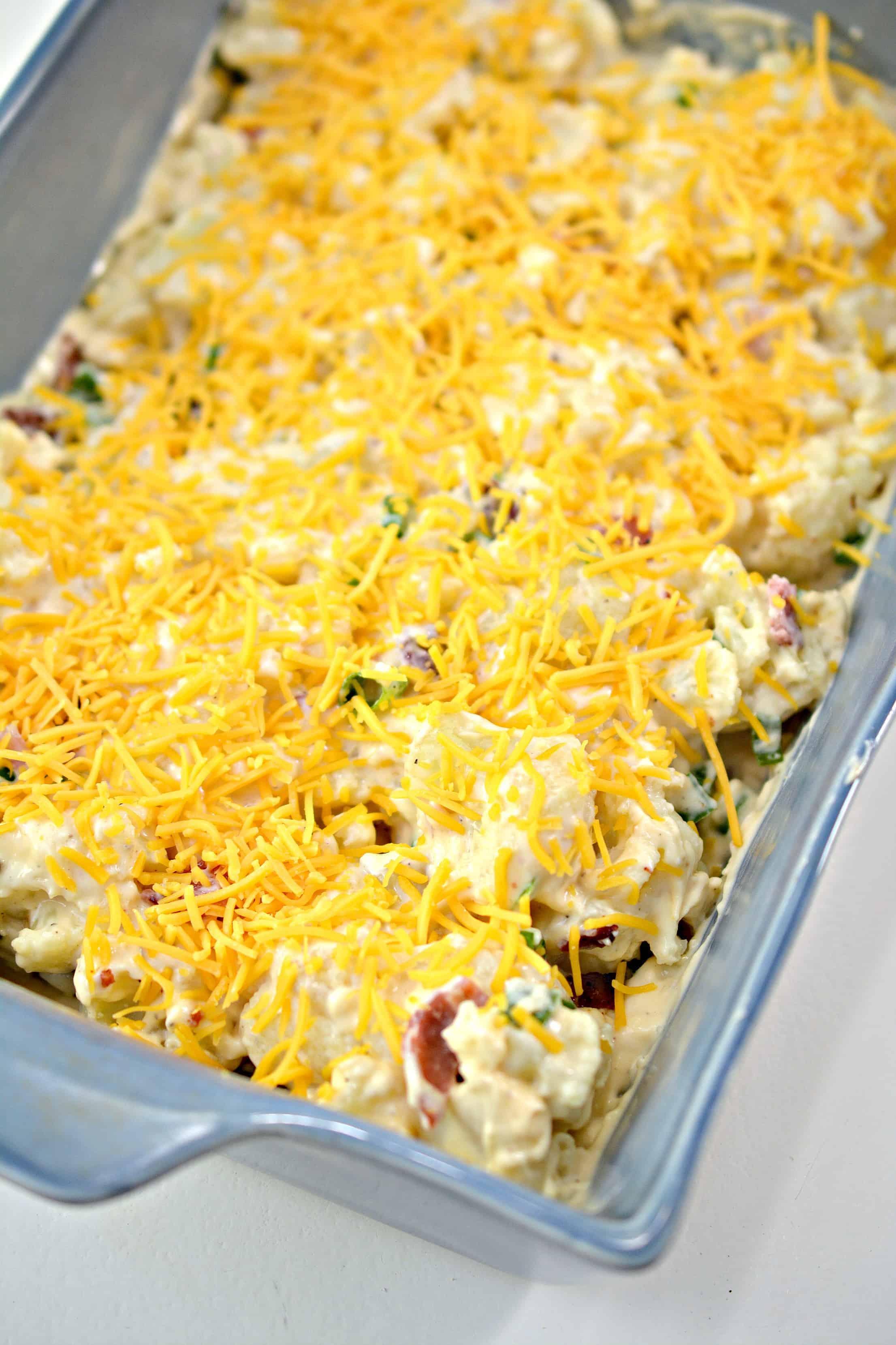 Cheese topping on cauliflower dish