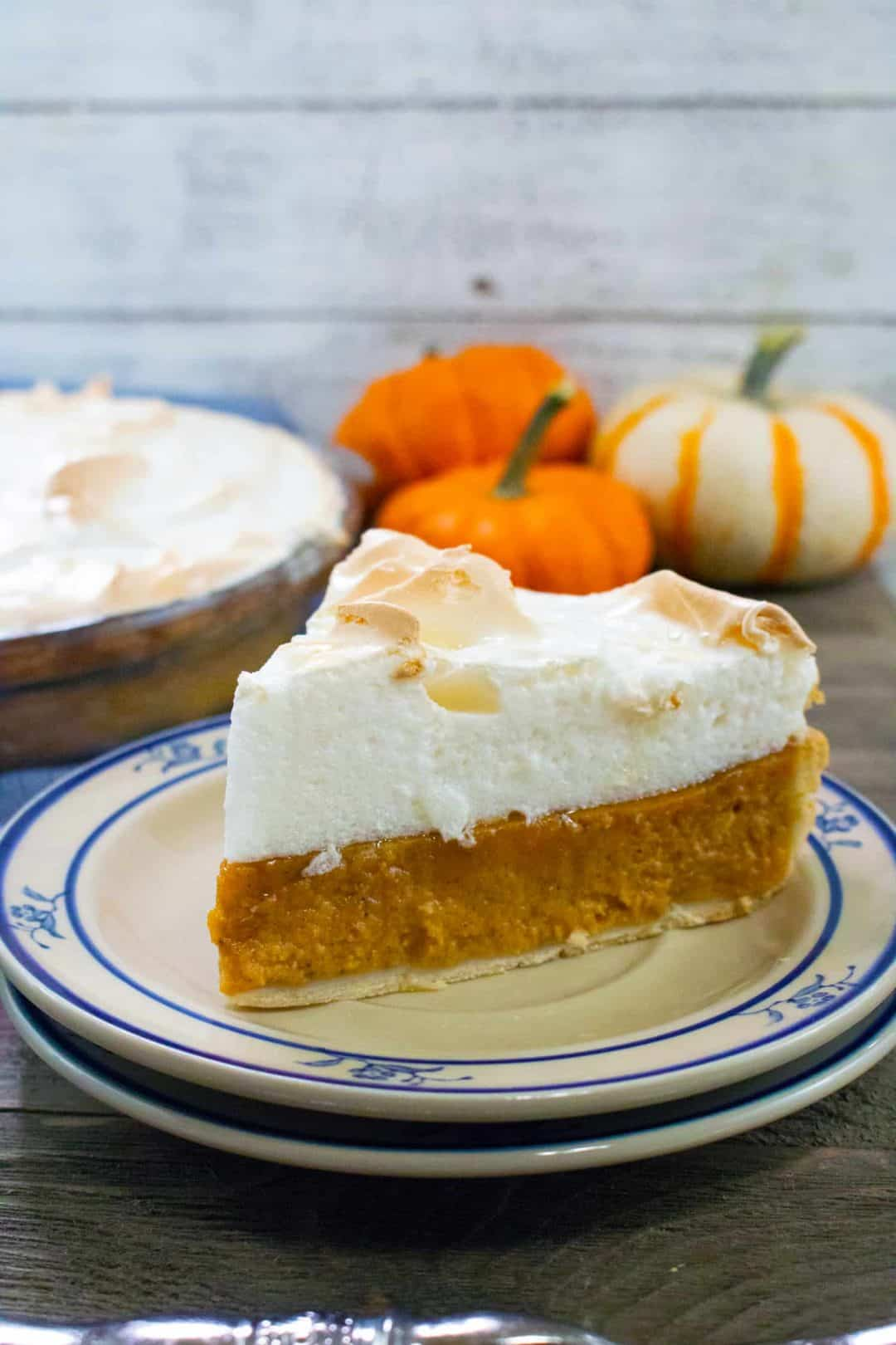 Pumpkin Meringue Pie on a plate