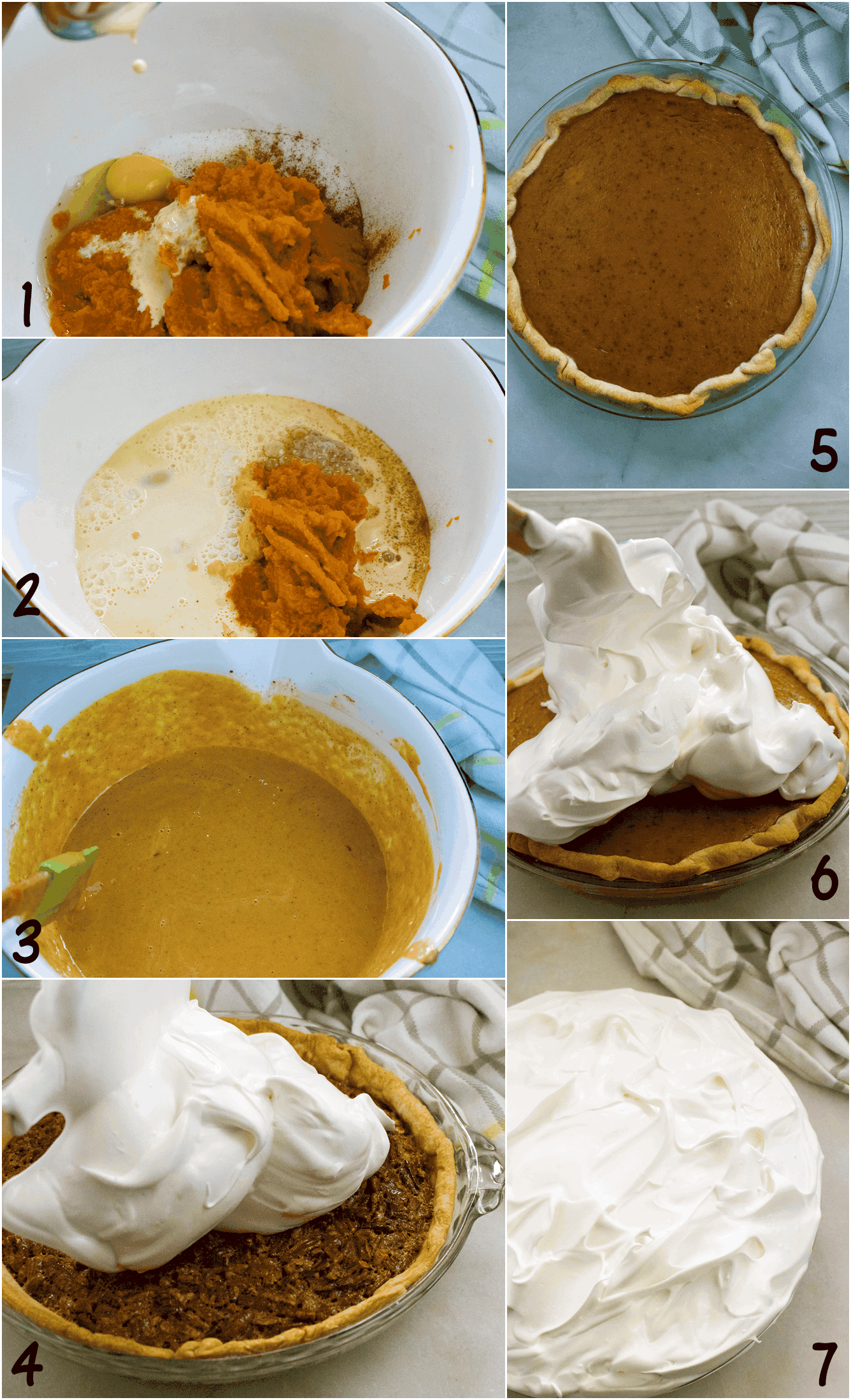 steps for pumpkin pie with meringue